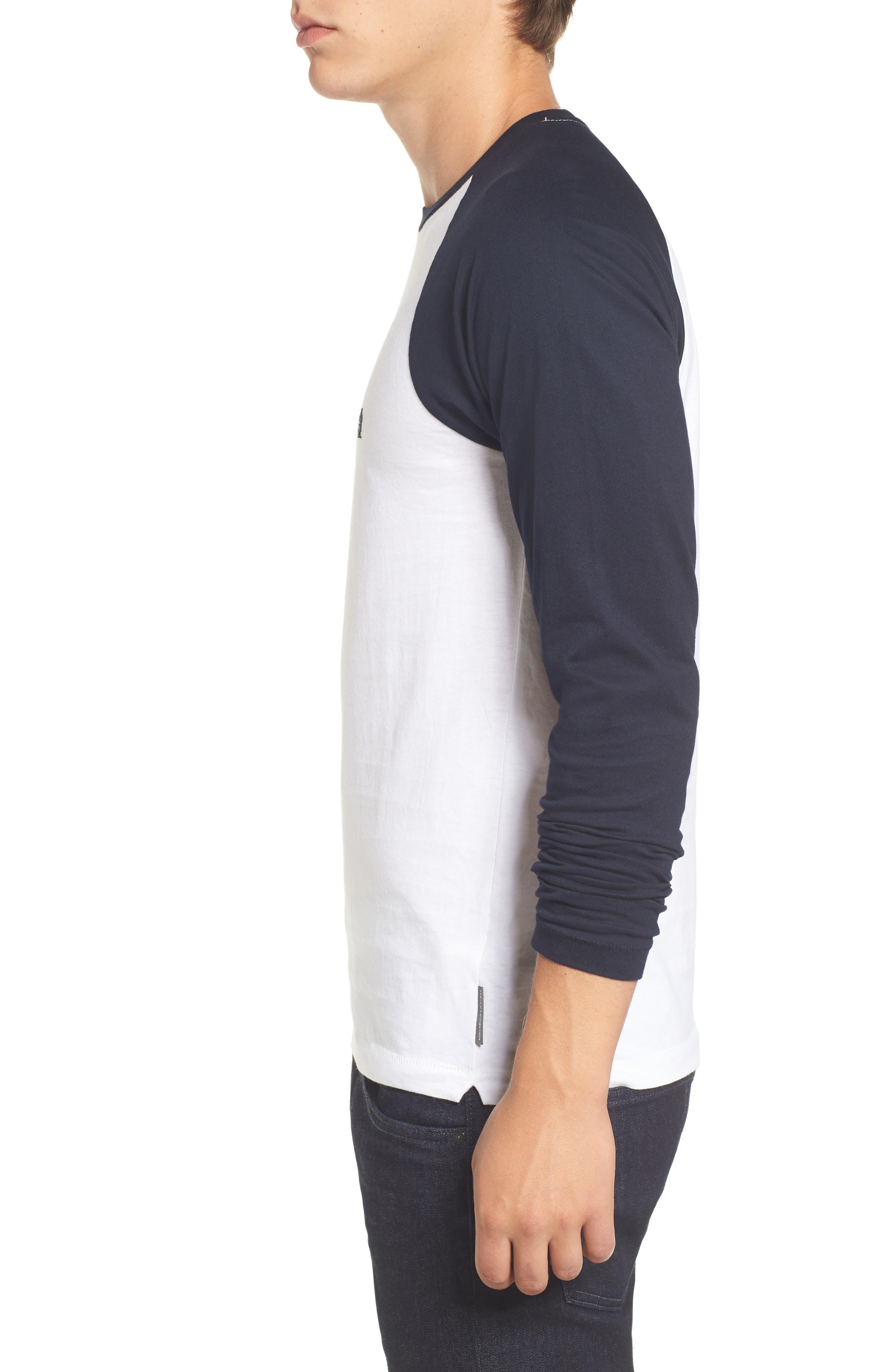 Slim Fit Long Sleeve Raglan T-Shirt,                             Alternate thumbnail 3, color,                             White/ Marine