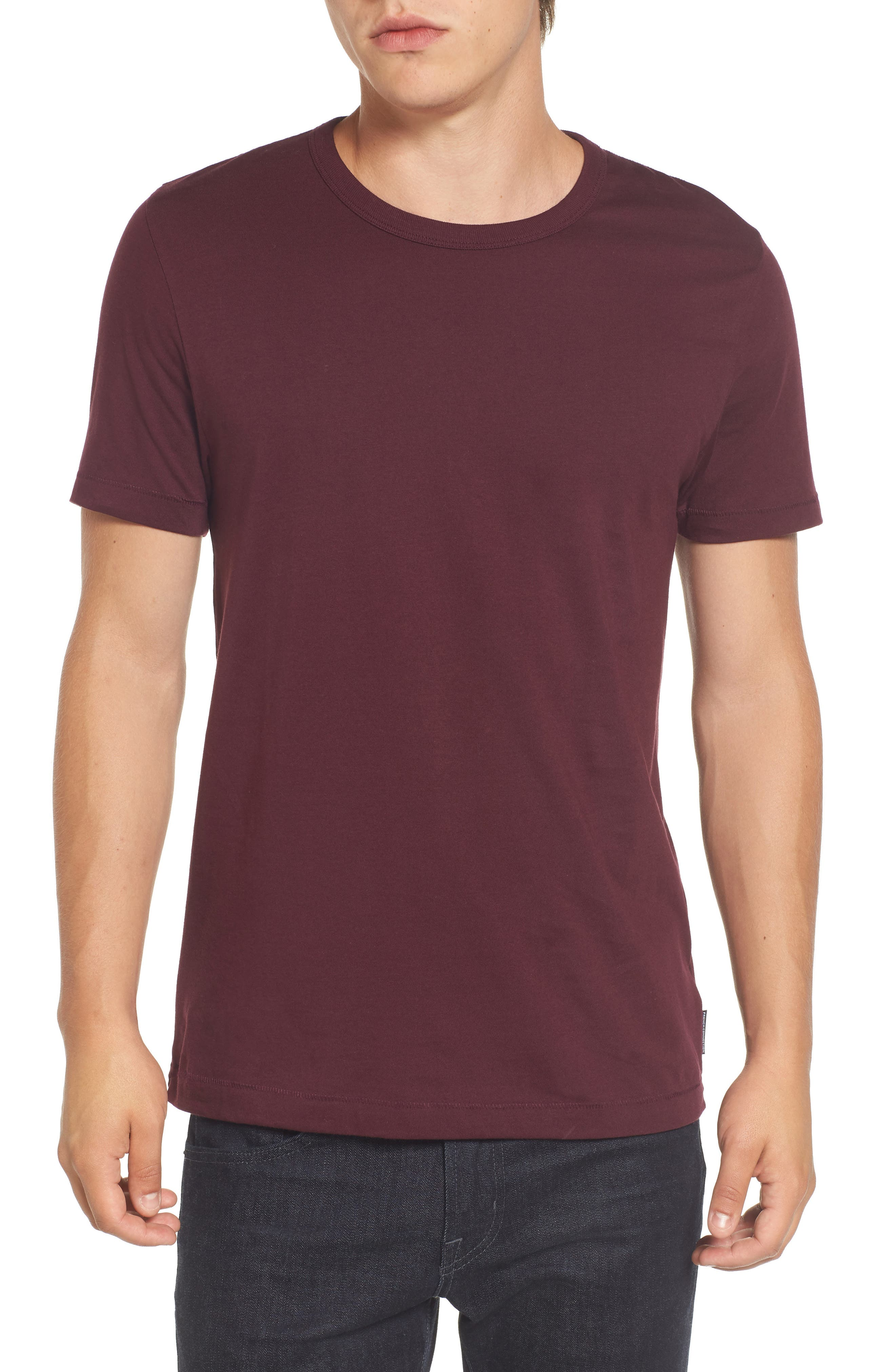 Slim Fit Crewneck T-Shirt,                             Main thumbnail 1, color,                             Bordeaux