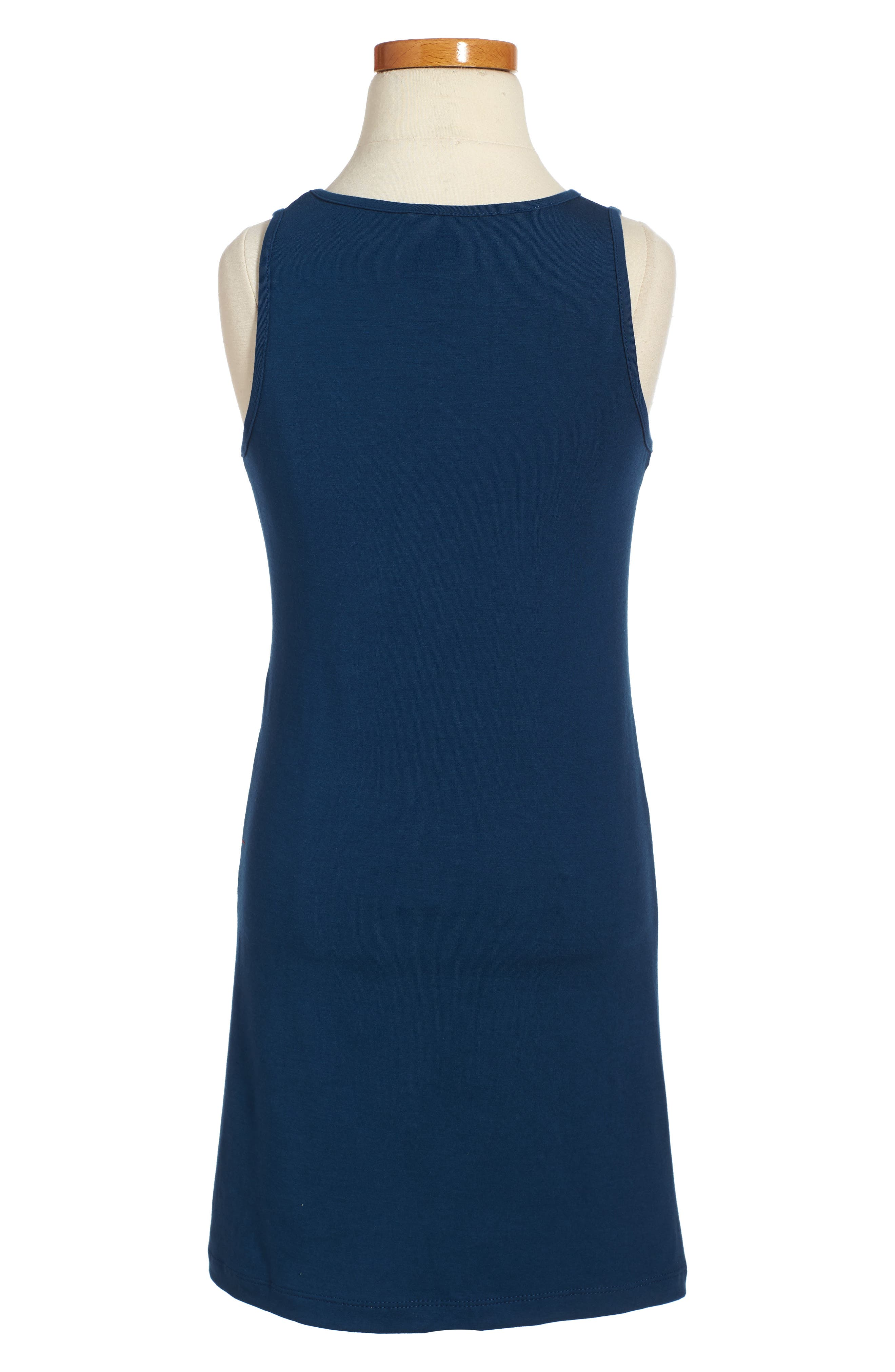 Faux Leather Trim Dress,                             Alternate thumbnail 2, color,                             Navy