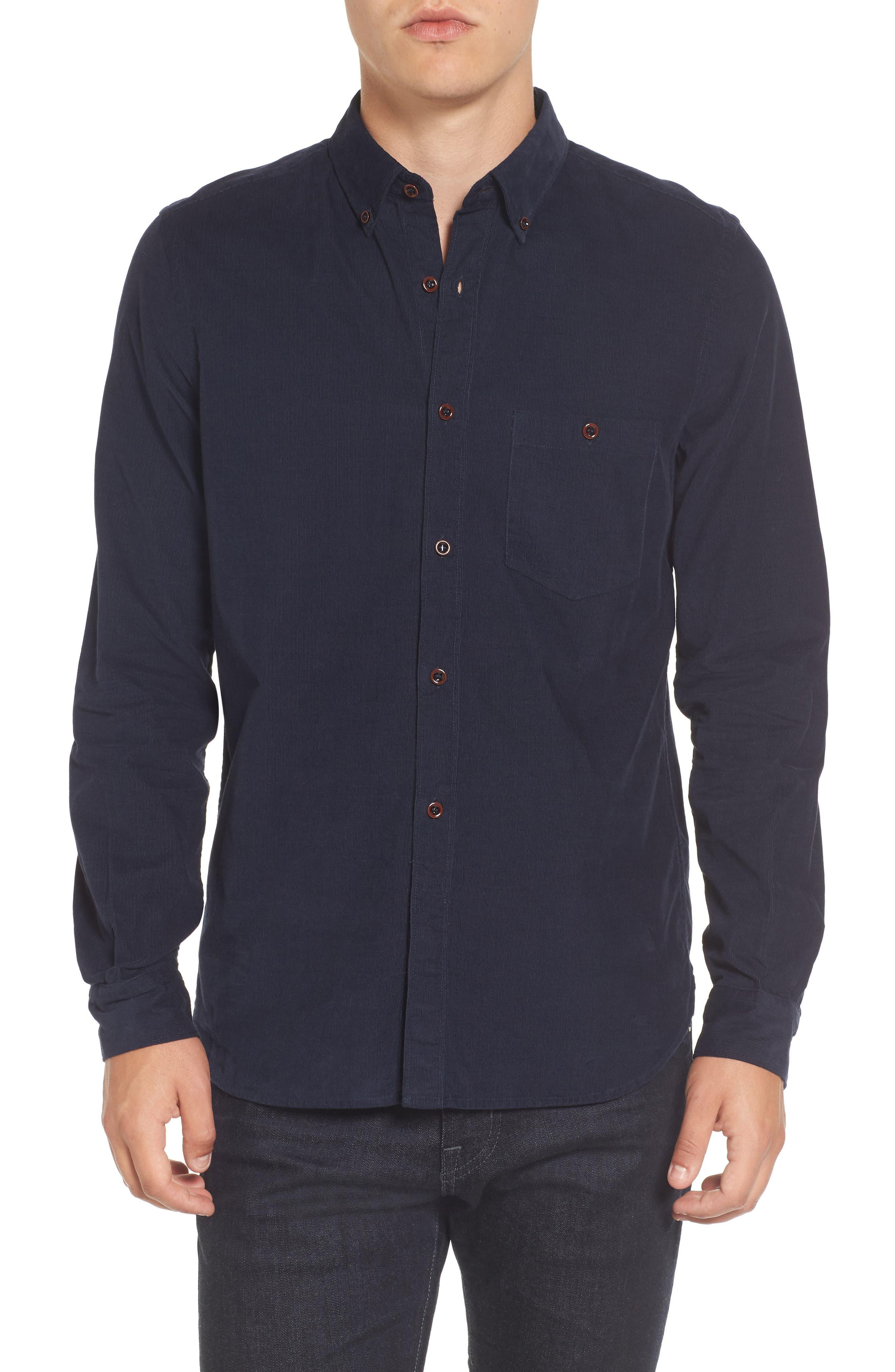 Corduroy Sport Shirt,                             Main thumbnail 1, color,                             Marine Blue