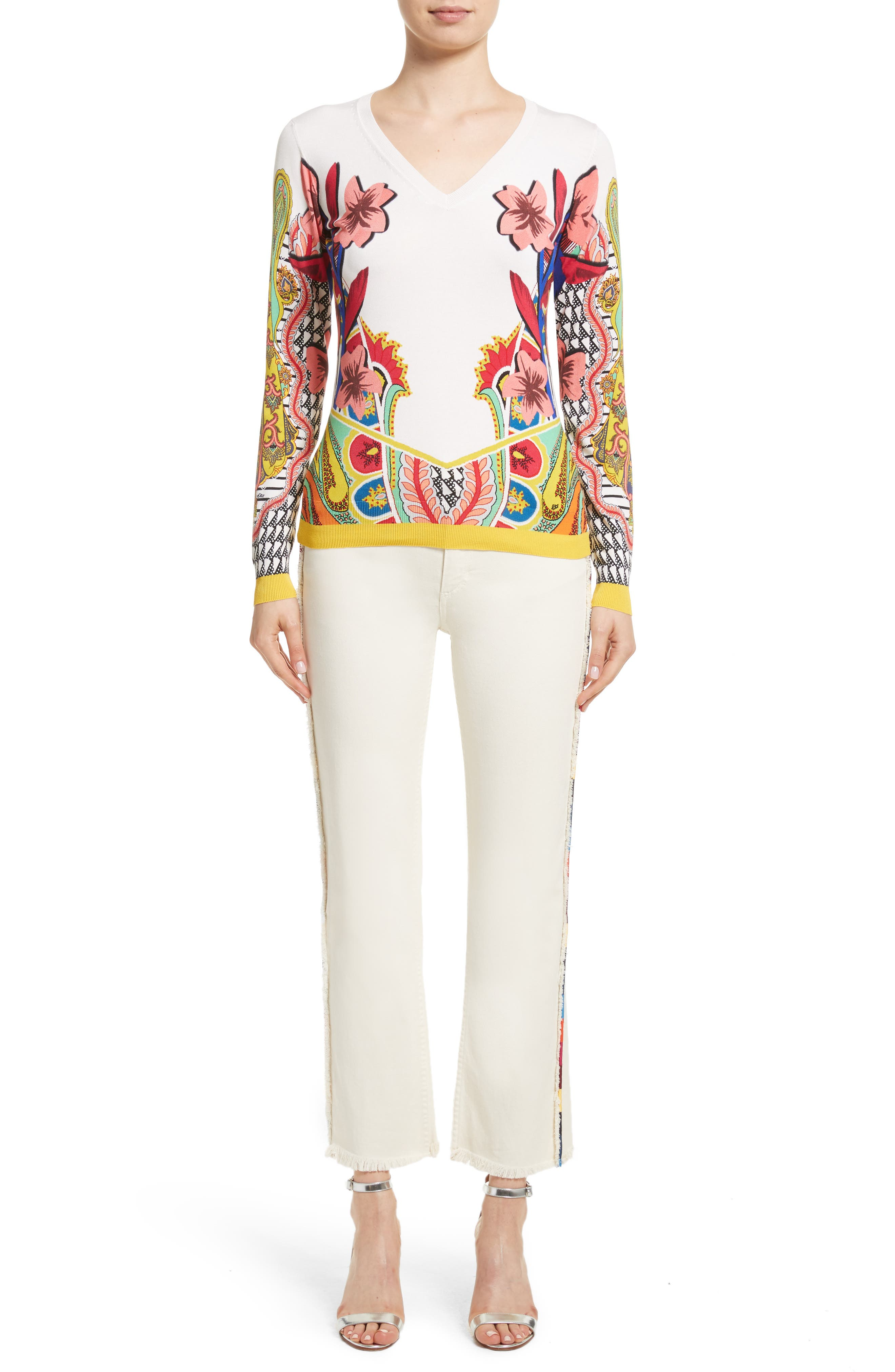 Alternate Image 7  - Etro Embroidered Piping Crop Jeans