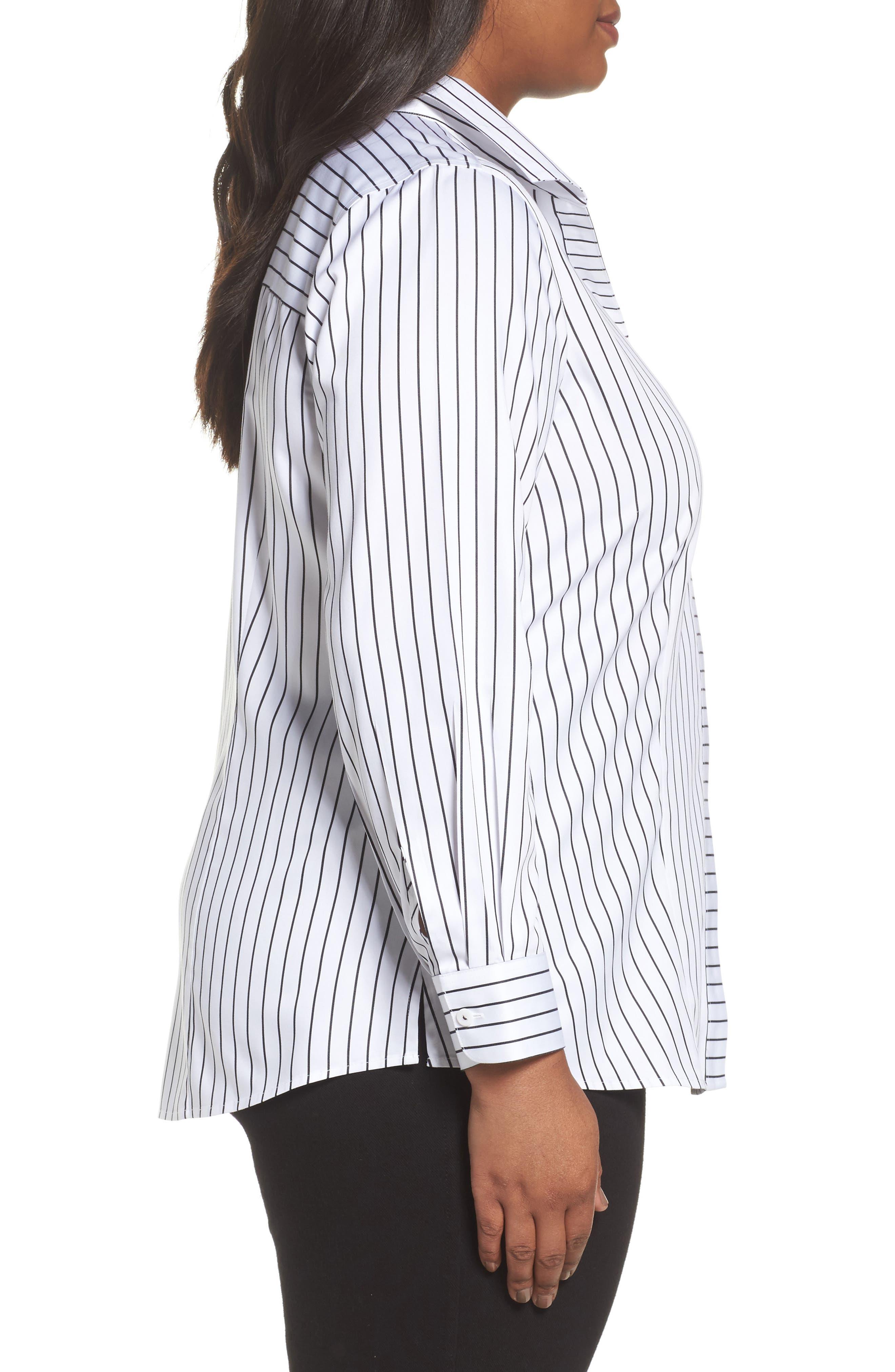 Alternate Image 3  - Foxcroft Annie Holiday Stripe Shirt (Plus Size)