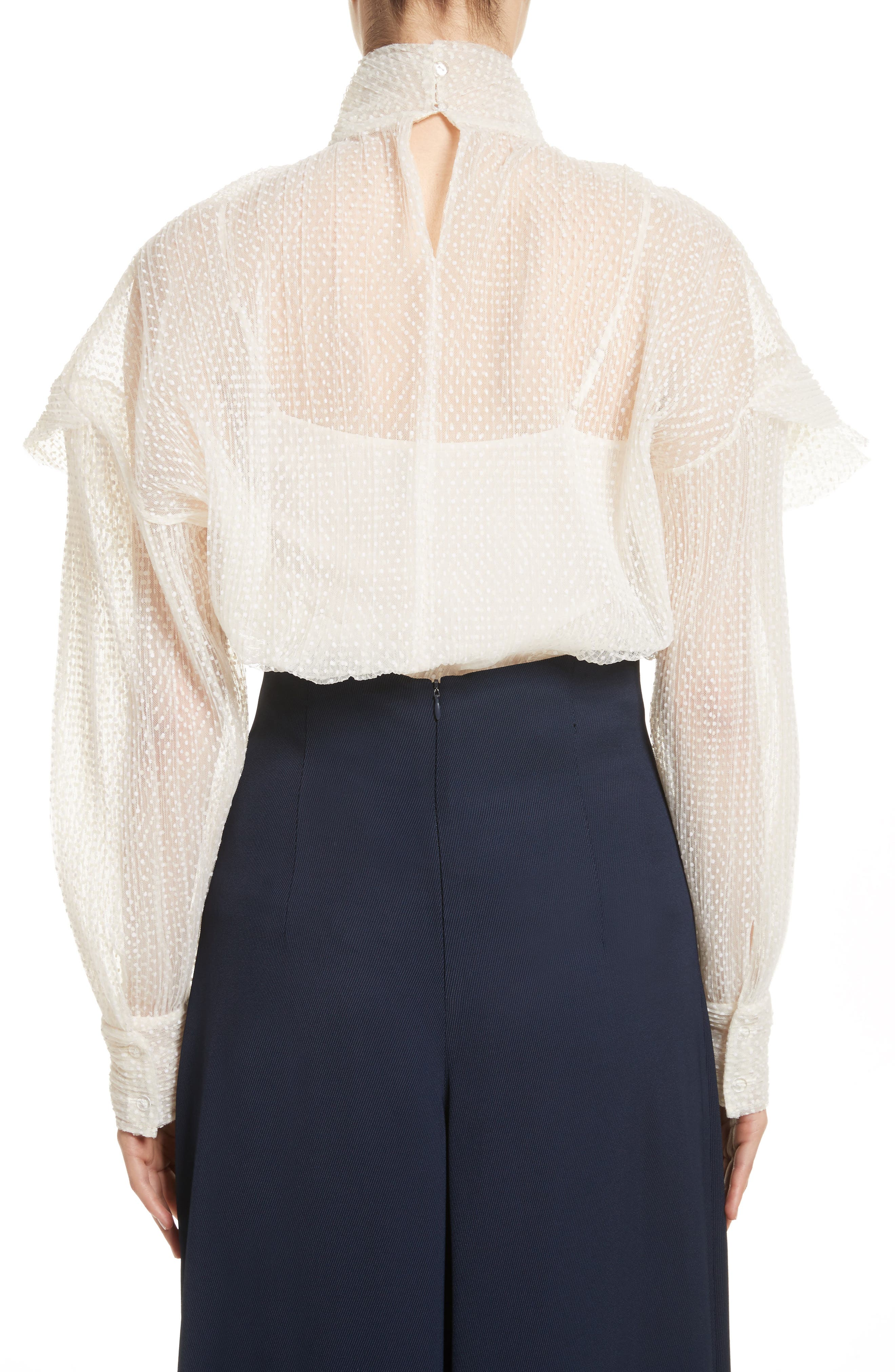 A.W.A.K.E Frill Double Layered Tulle Top,                             Alternate thumbnail 2, color,                             Cream