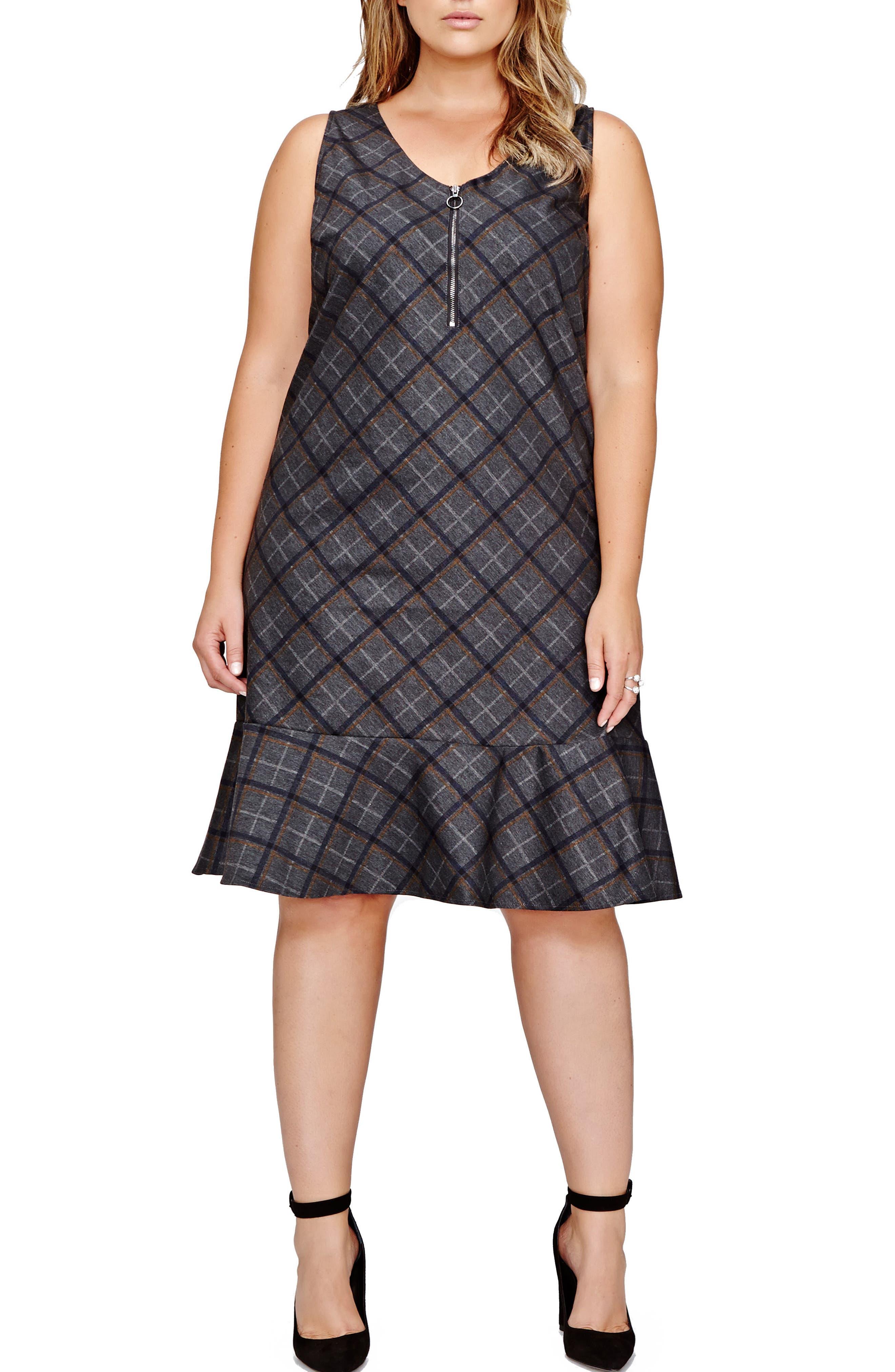Main Image - Michel Studio Plaid Shirt Dress (Plus Size)