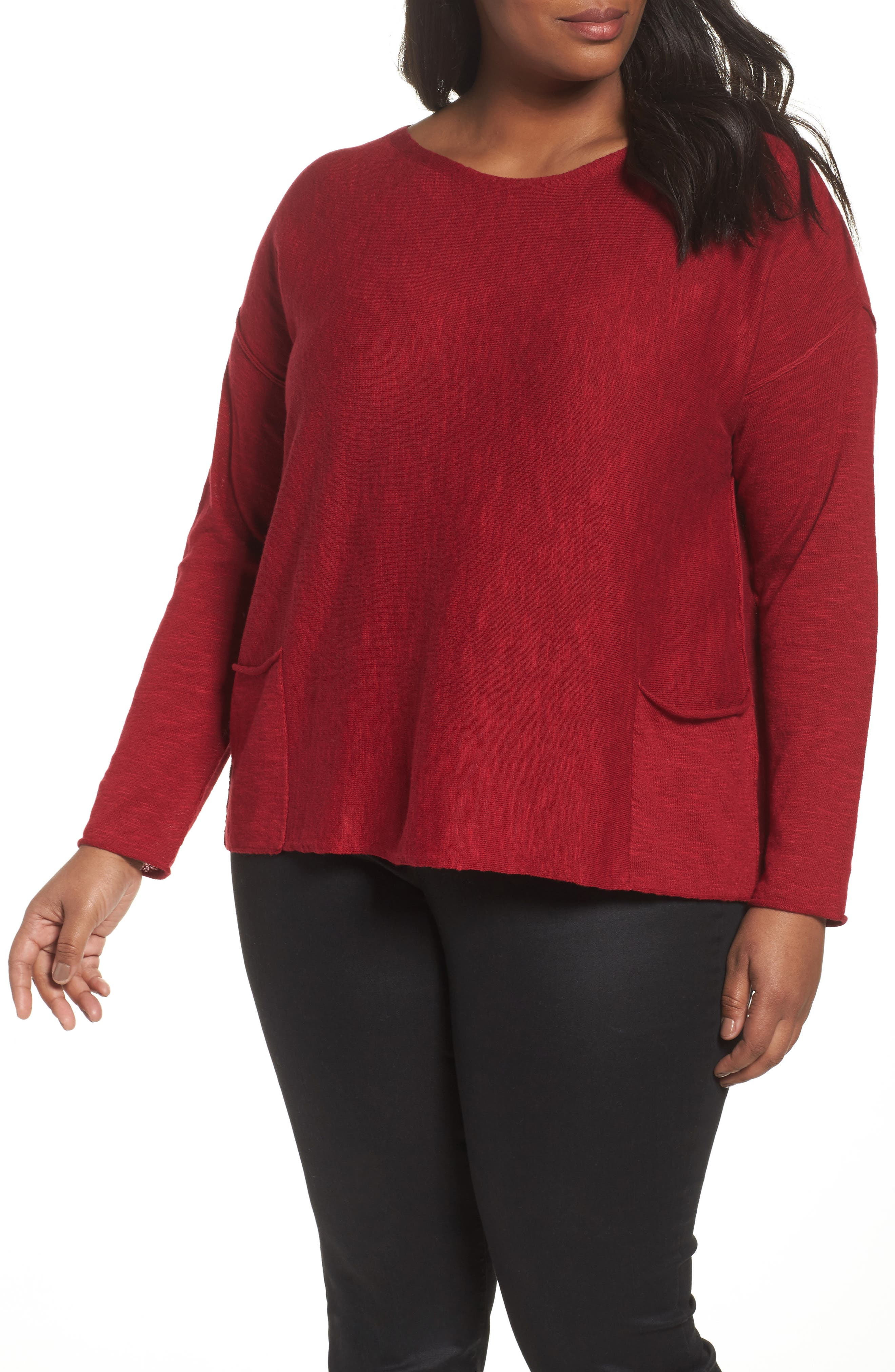 Main Image - Eileen Fisher Organic Linen & Cotton Sweater (Plus Size)