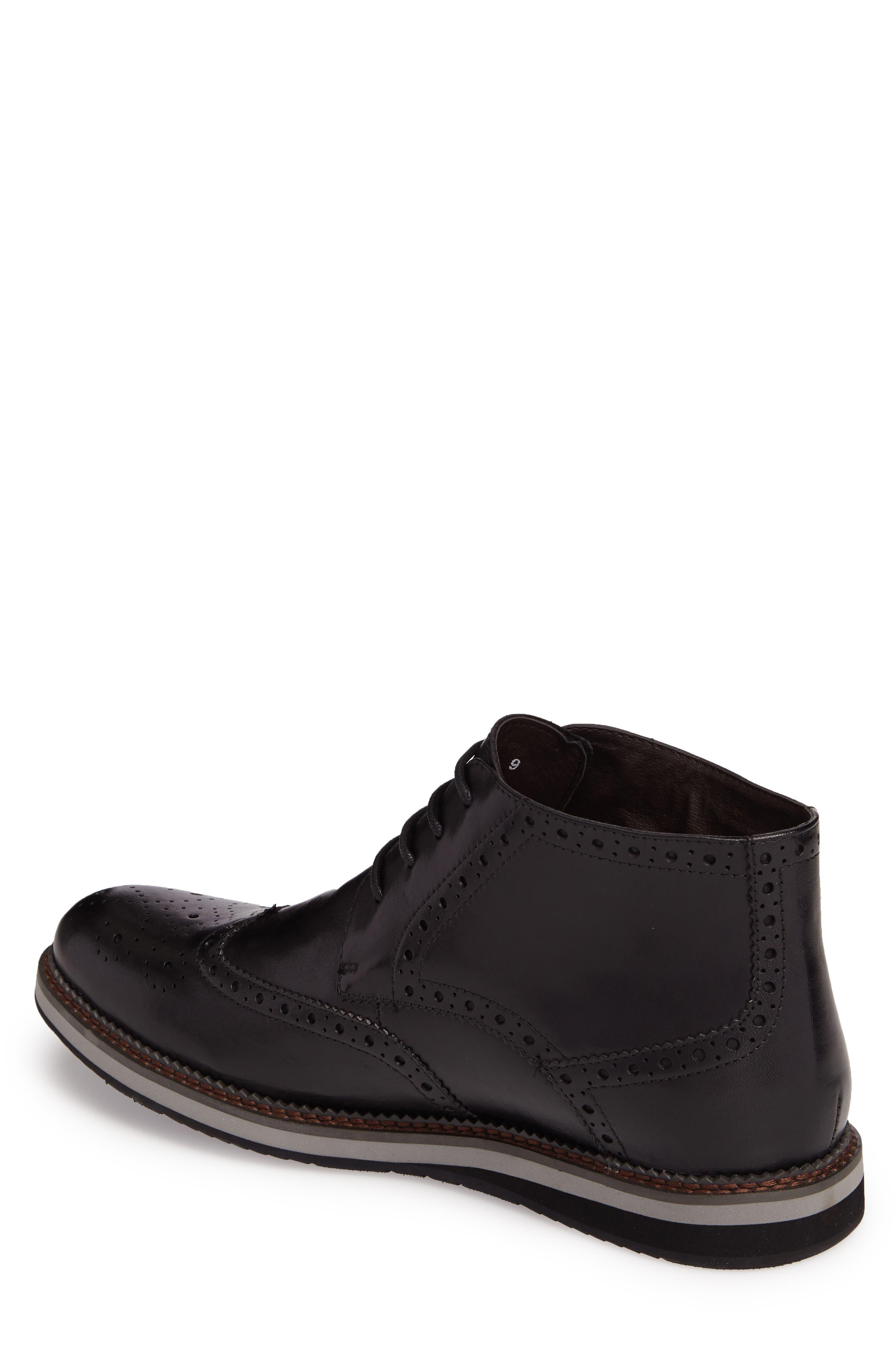Ascot Wingtip Boot,                             Alternate thumbnail 2, color,                             Black Leather