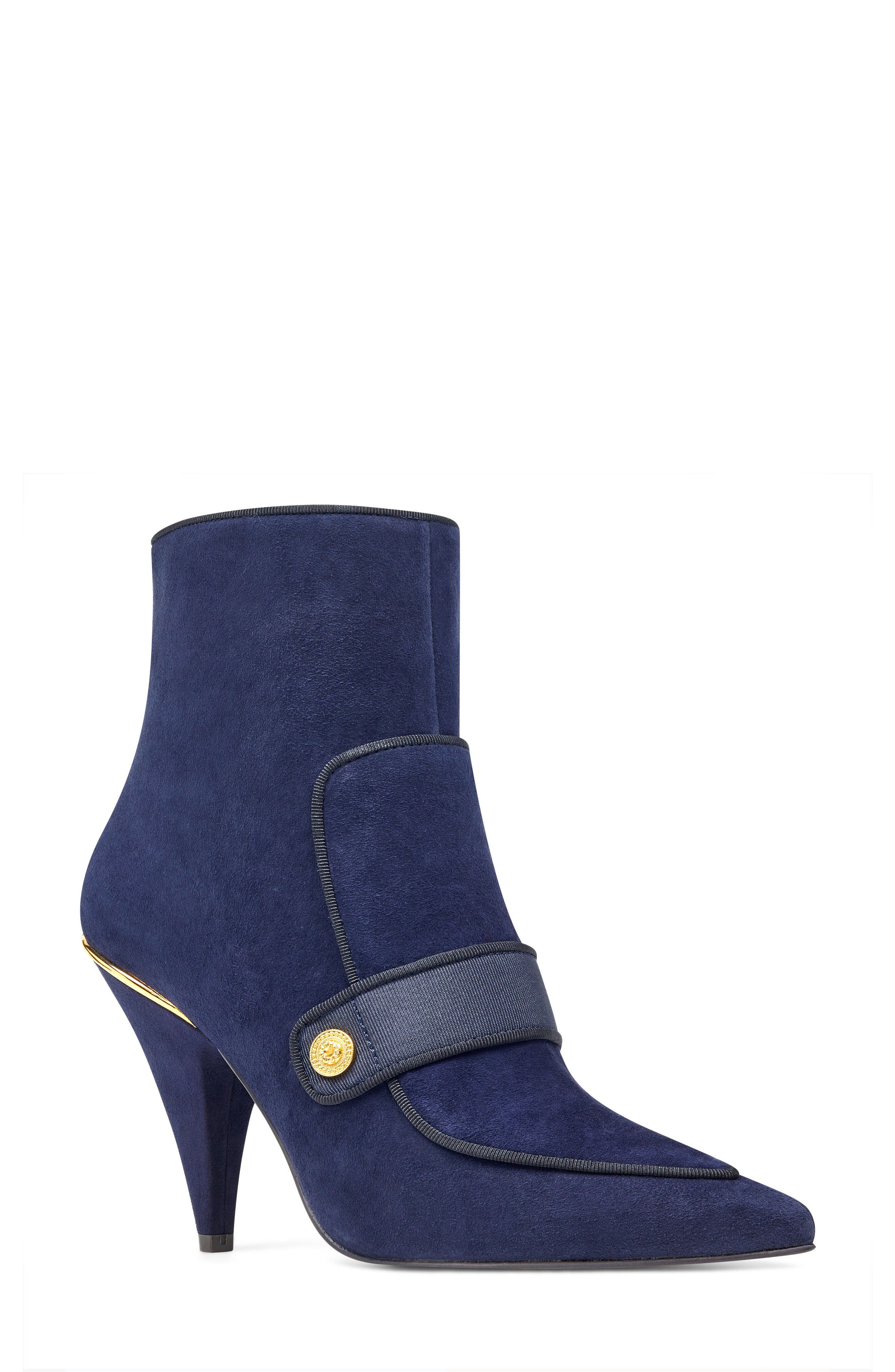 Westham Pointy Toe Bootie,                             Main thumbnail 1, color,                             Navy/ Black Suede