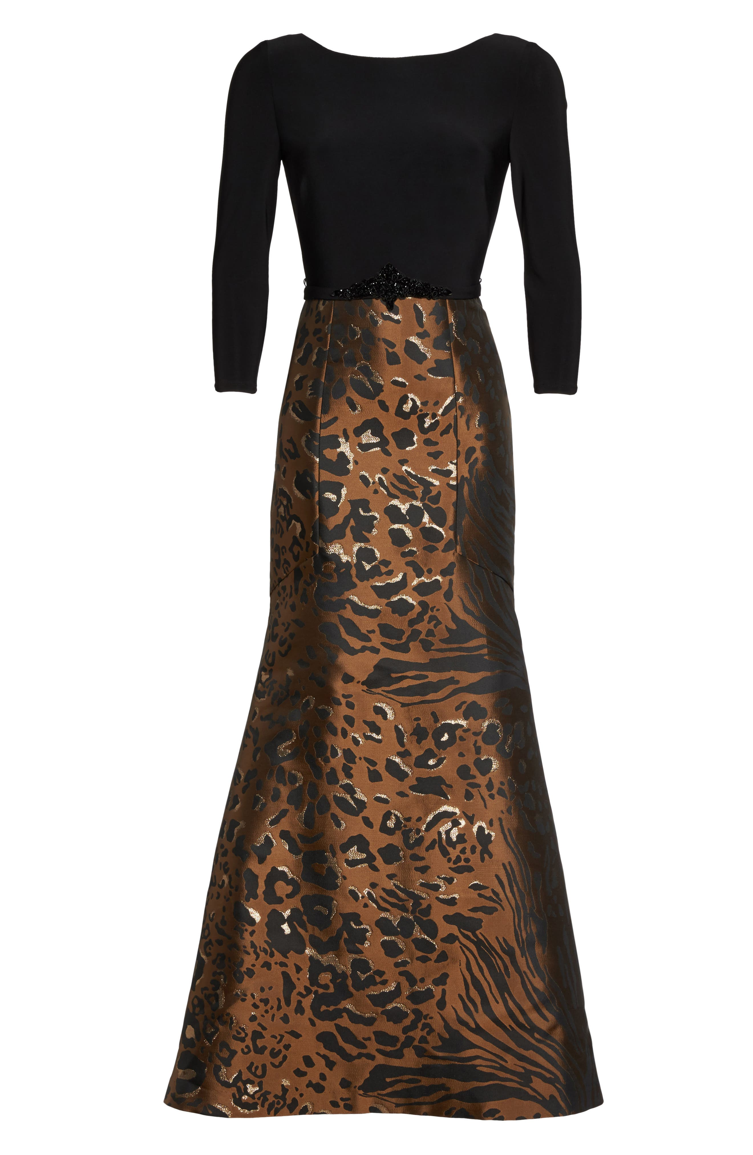 Embellished Mixed Media Trumpet Gown,                             Alternate thumbnail 6, color,                             Black Tan