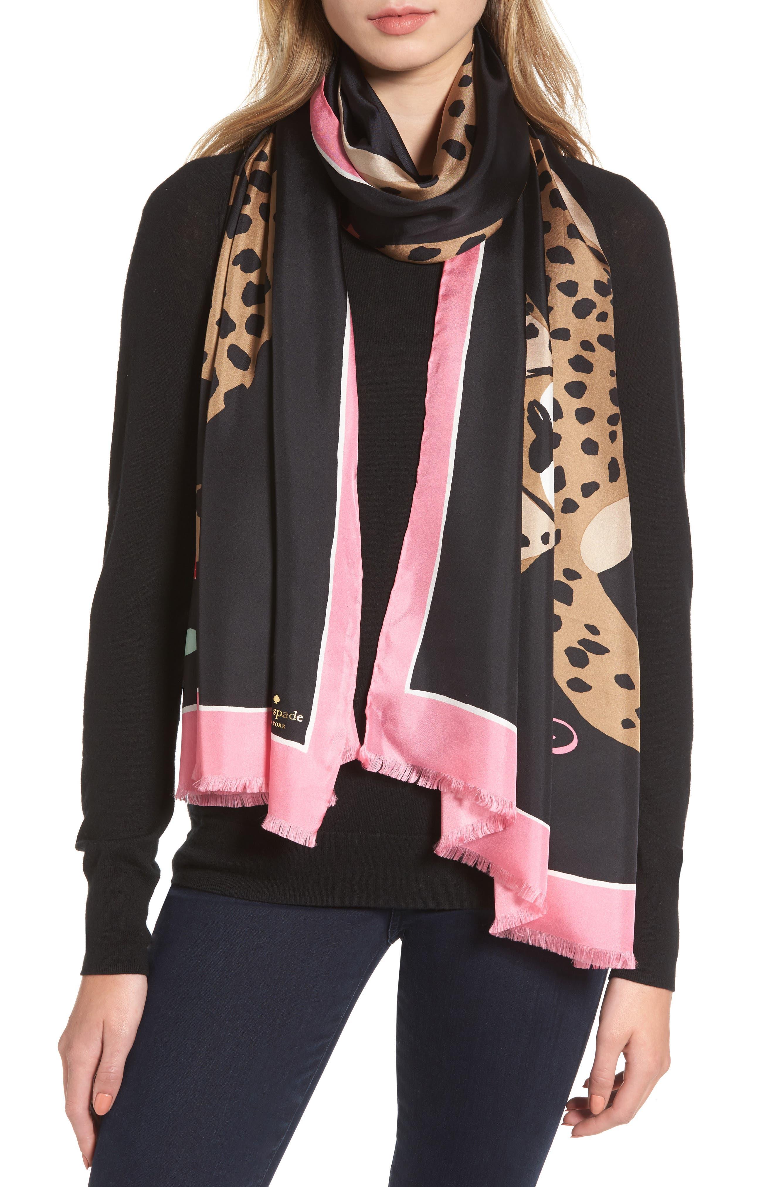 classic cheetah oblong silk scarf,                         Main,                         color, Black