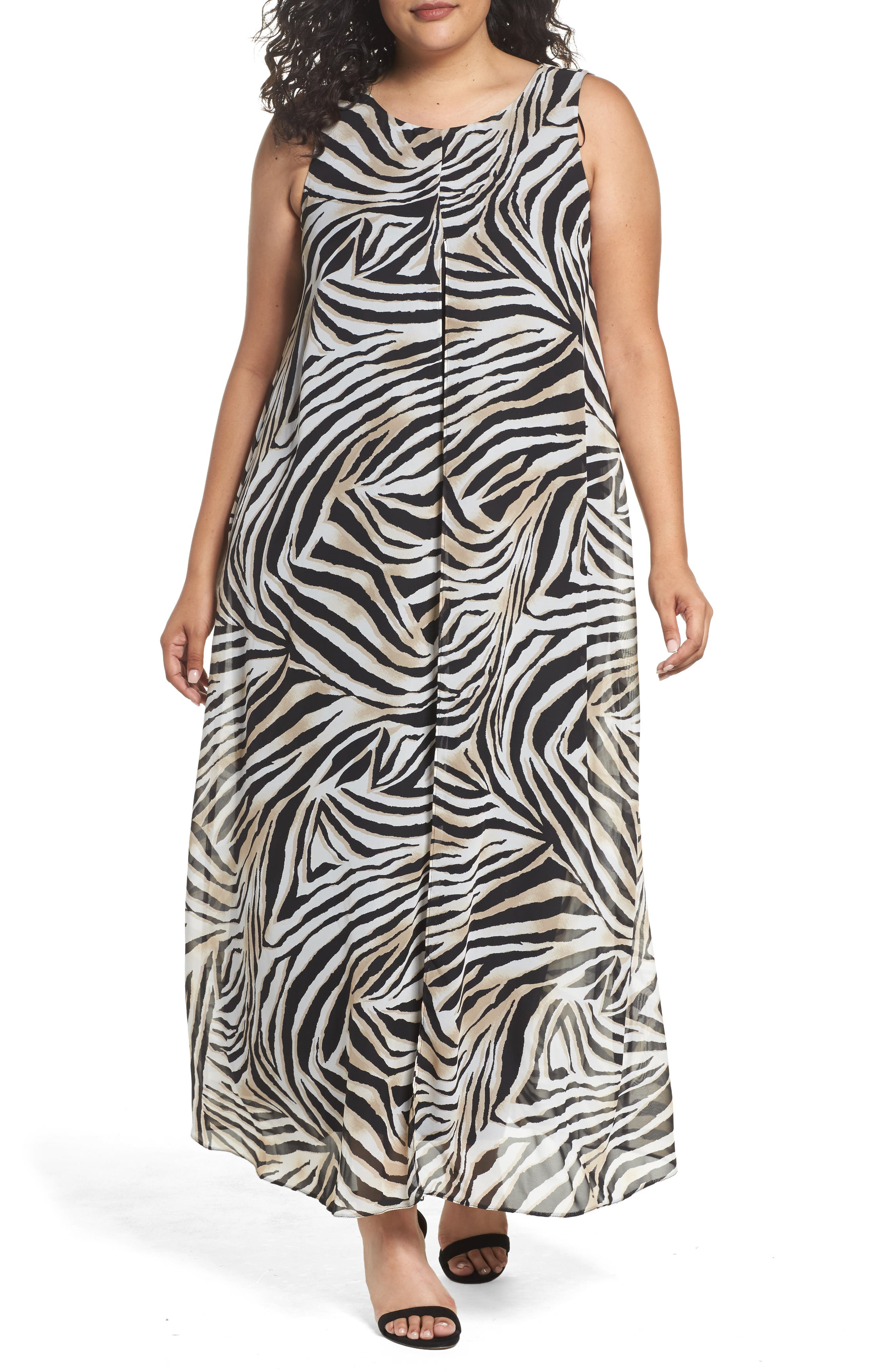 Animal Print Split Maxi Dress,                         Main,                         color, Dark Multi