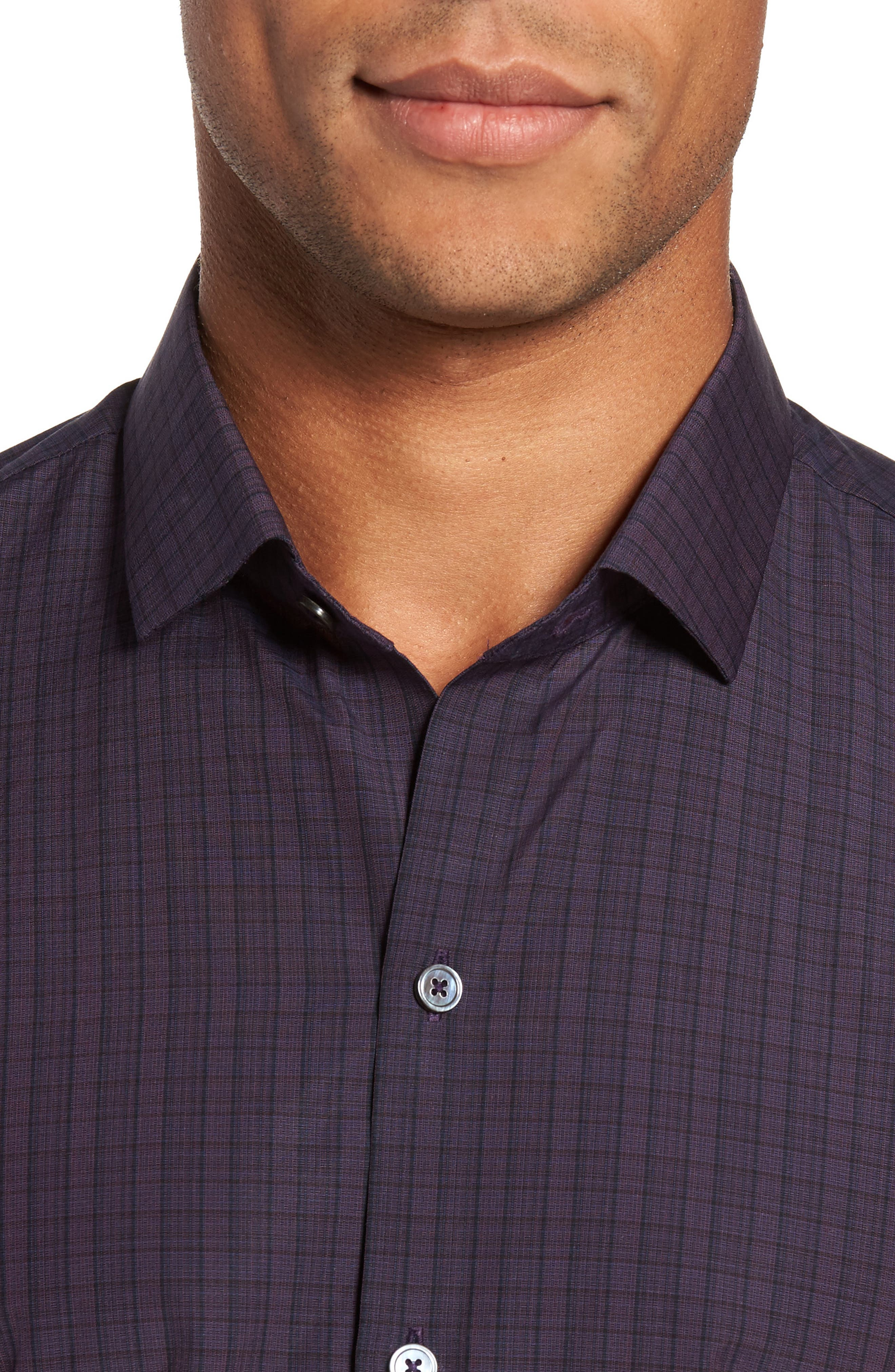 Wein Slim Fit Check Sport Shirt,                             Alternate thumbnail 4, color,                             Wine