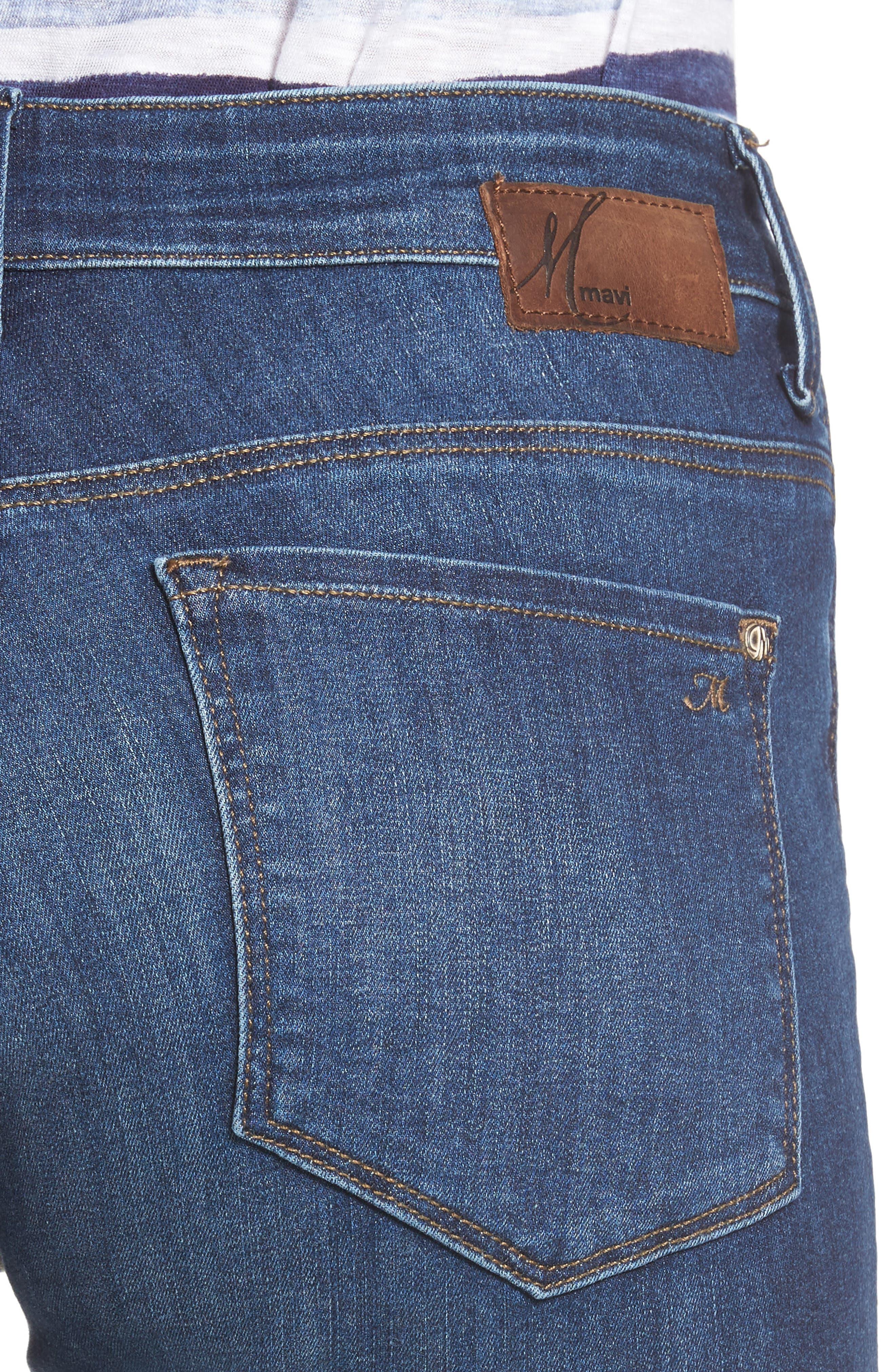Alissa Super Skinny Jeans,                             Alternate thumbnail 4, color,                             Dark Indigo Tribeca