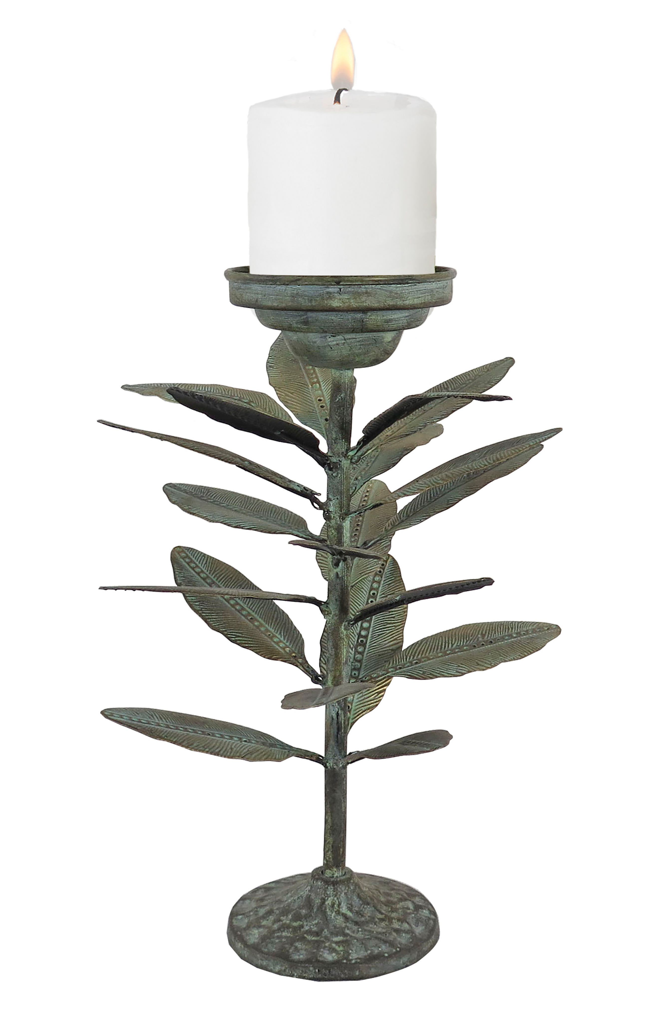 Falling Leaves Candle Holder,                         Main,                         color, Metal
