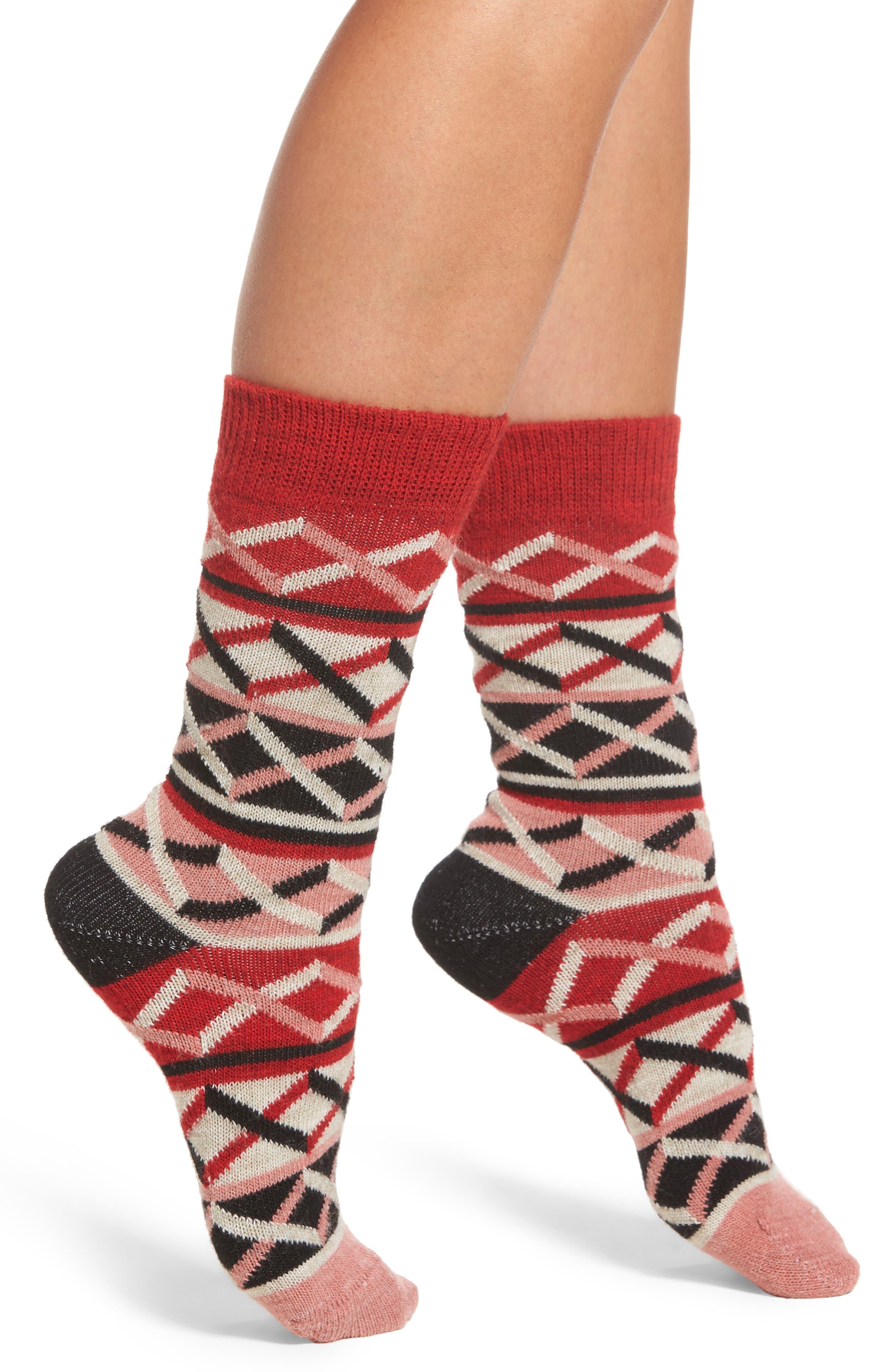 Ellinor Crew Socks,                             Main thumbnail 1, color,                             Red