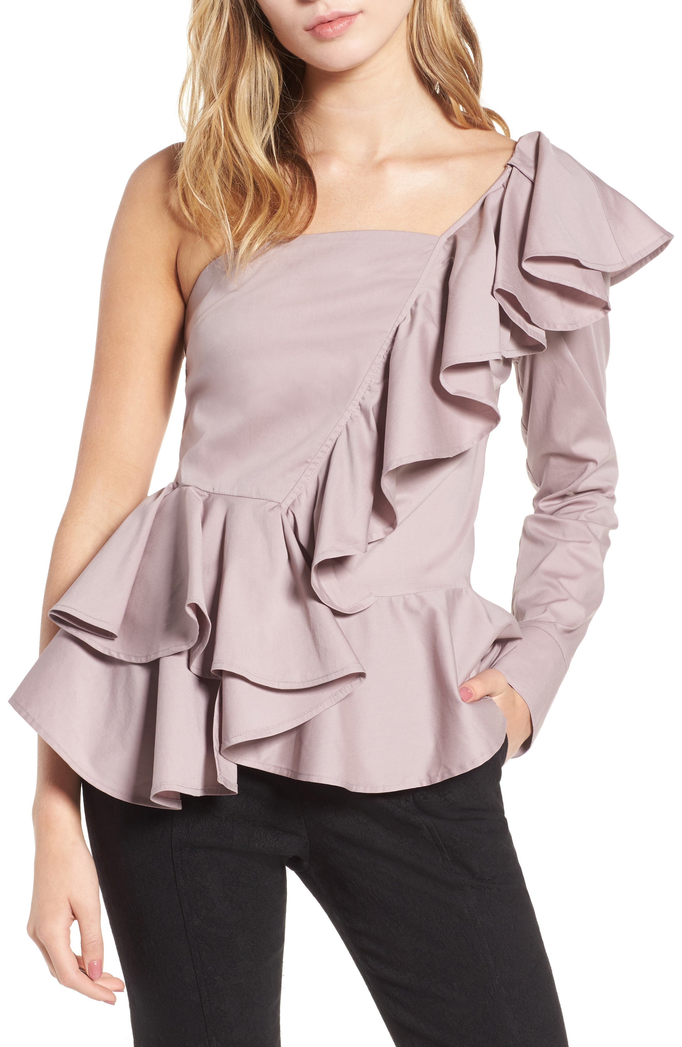 Alternate Image 1 Selected - Leith Ruffle One-Shoulder Blouse
