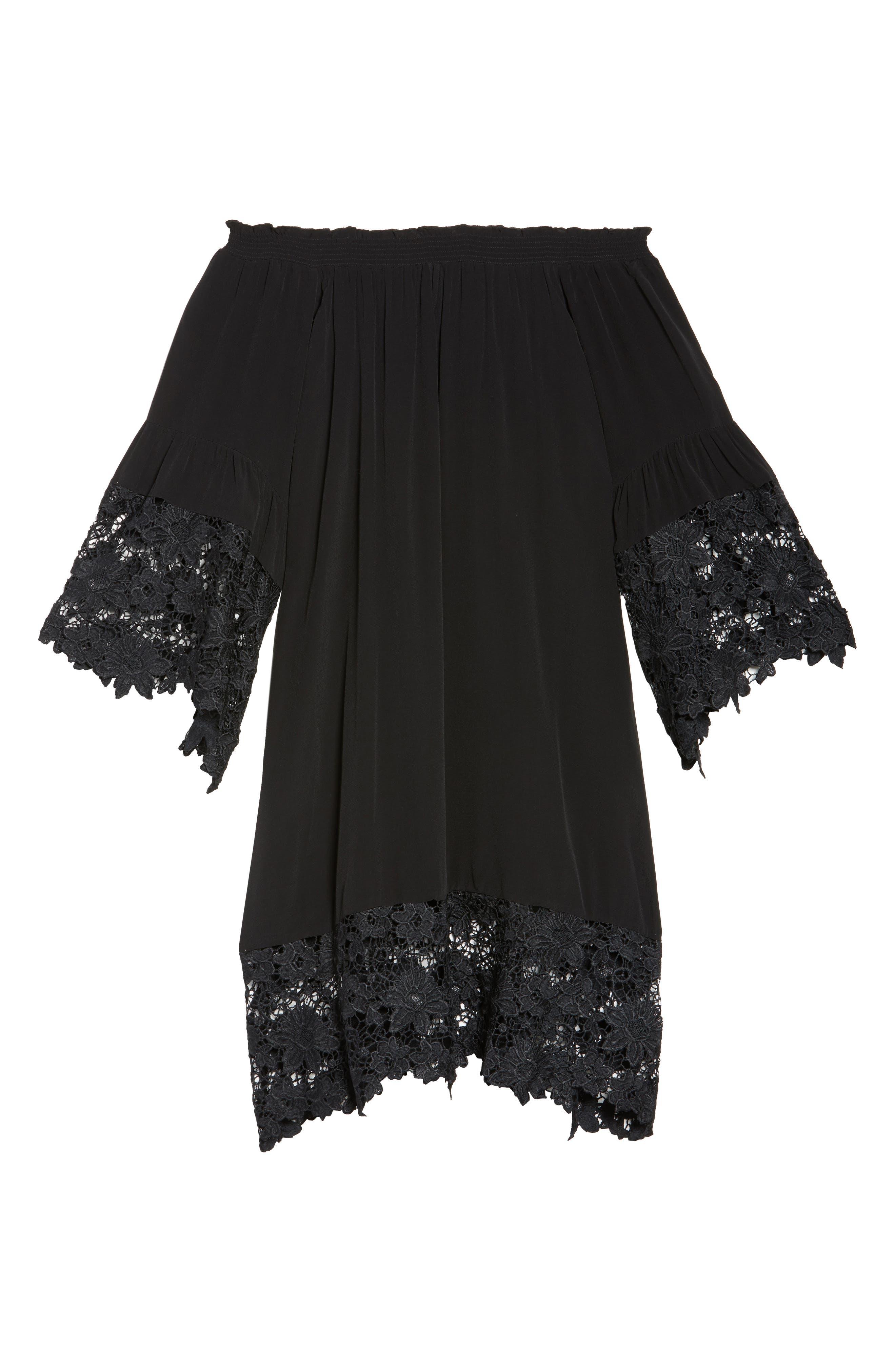 Jolie Lace Accent Cover-Up Dress,                             Alternate thumbnail 5, color,                             Black