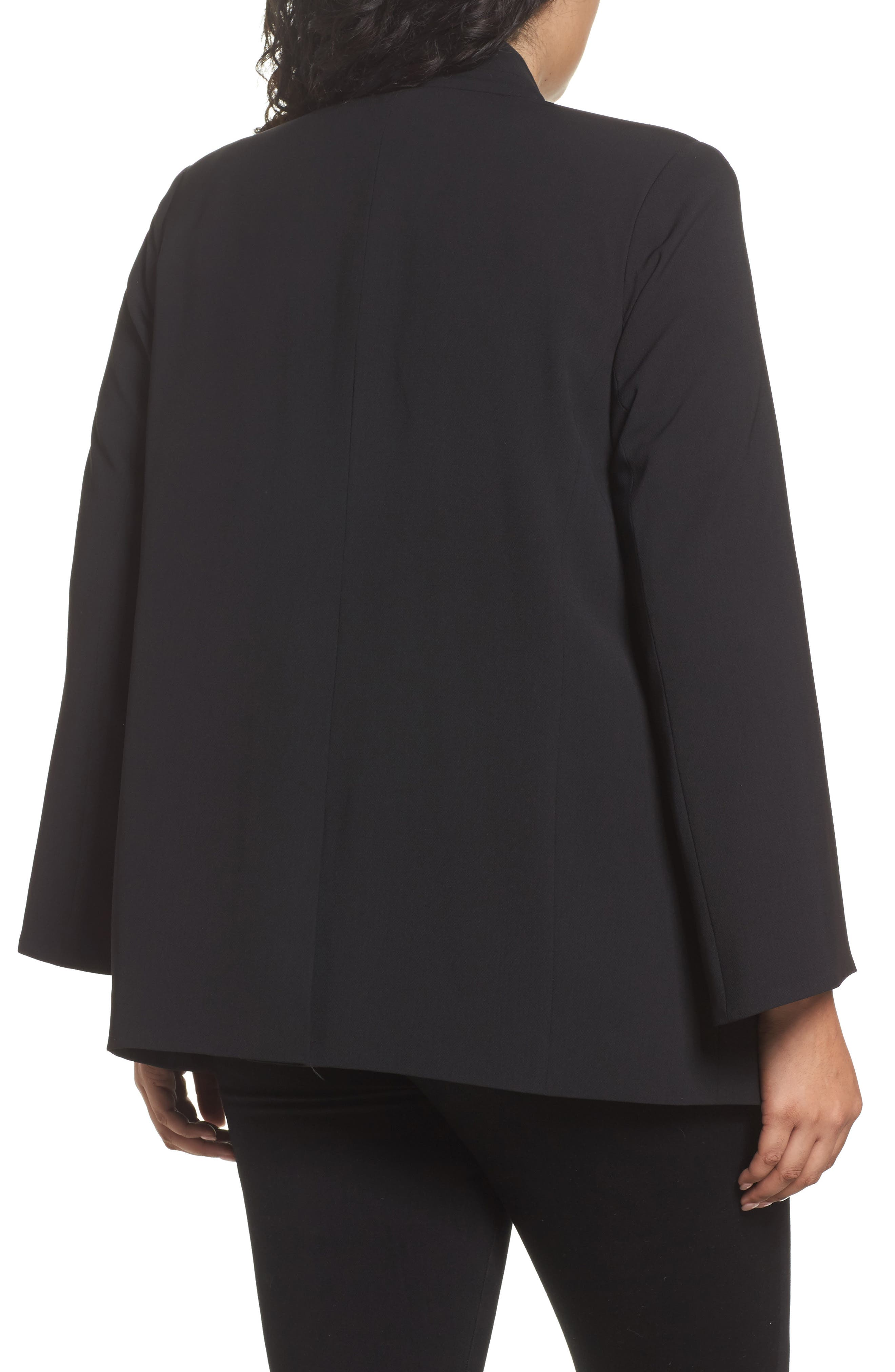 Split Bell Sleeve Blazer,                             Alternate thumbnail 2, color,                             Rich Black
