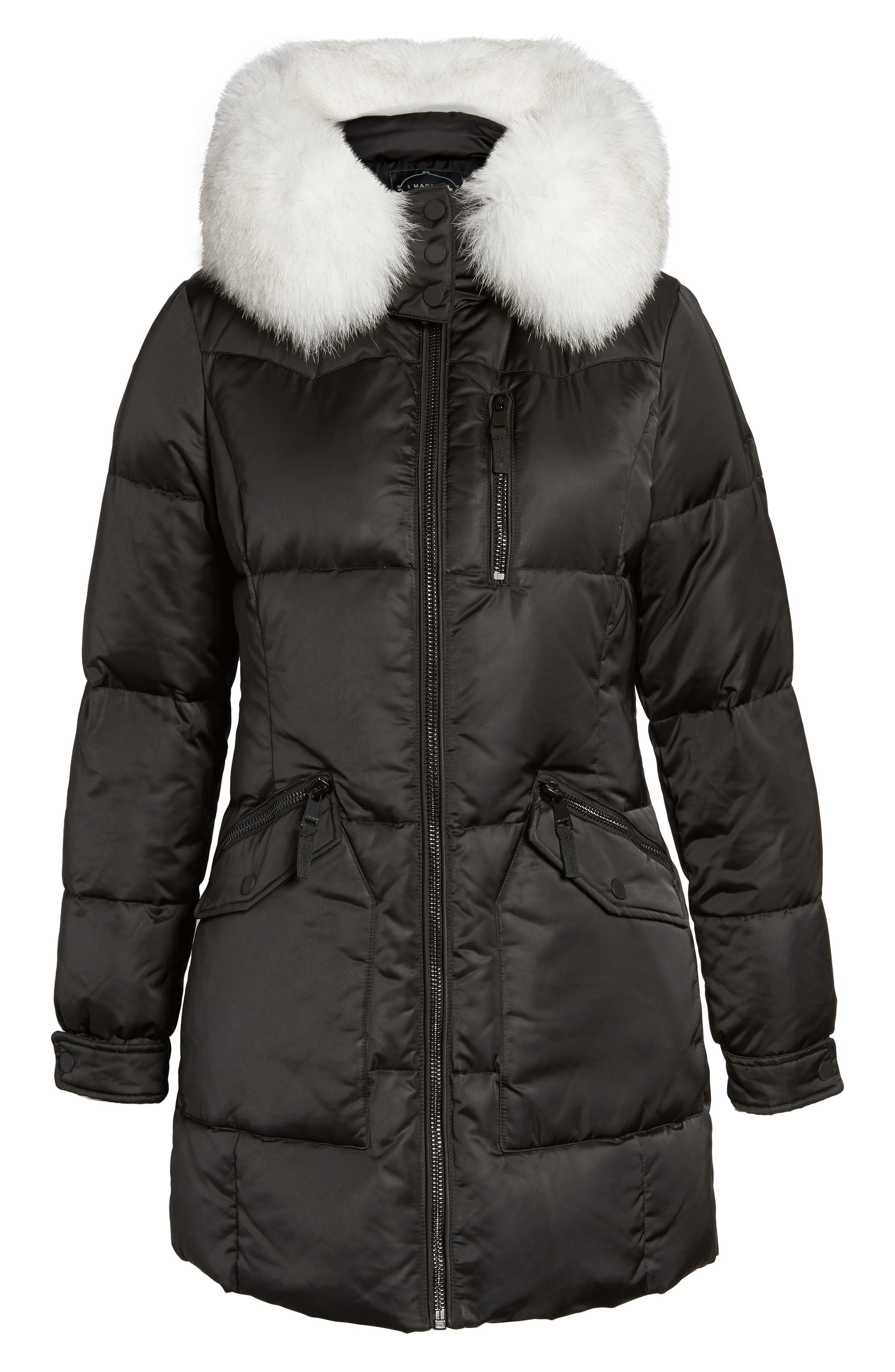 Puffer Jacket with Genuine Fox Fur Trim,                             Alternate thumbnail 6, color,                             Black