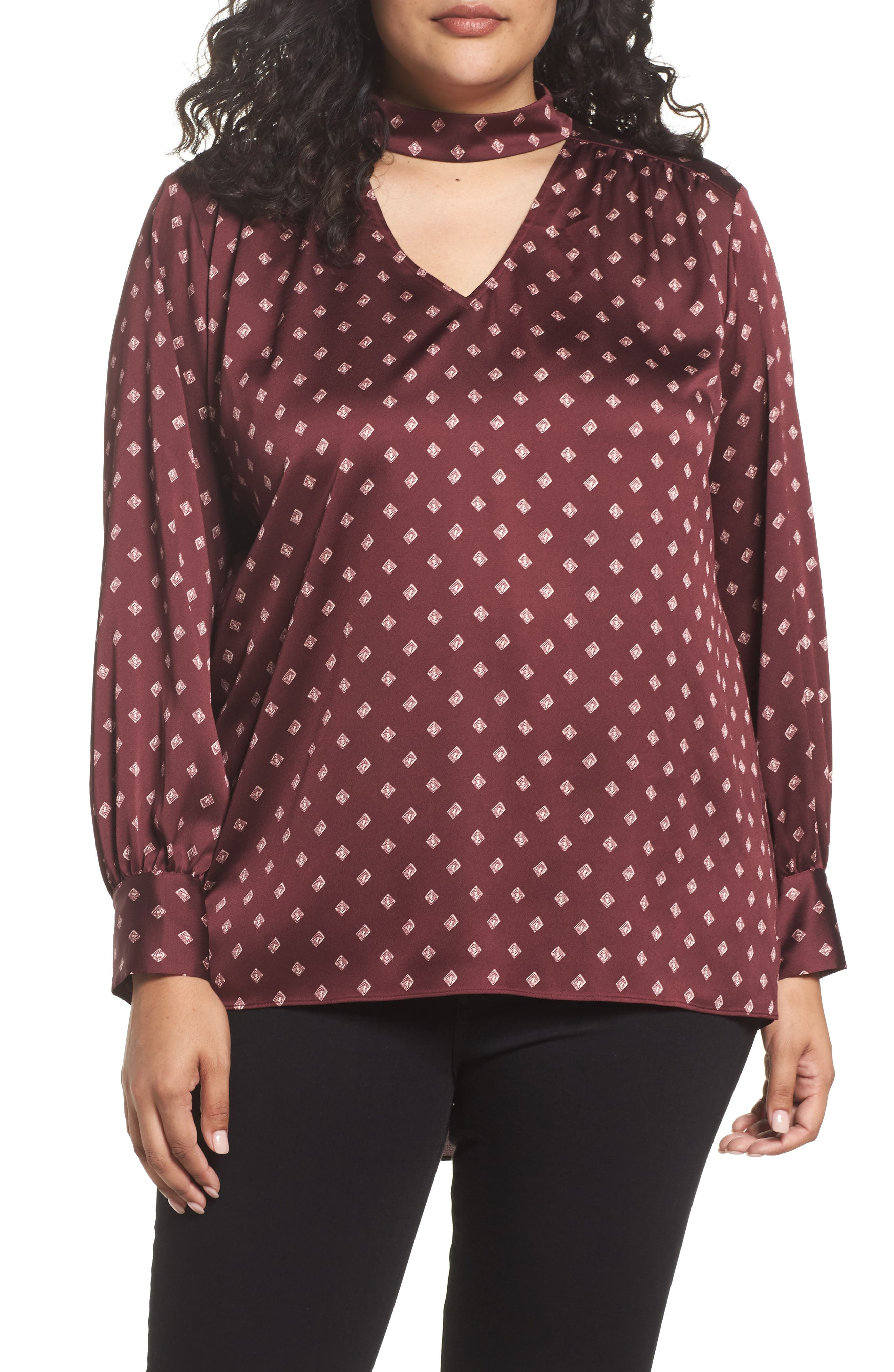 Vince Camuto Heirloom Mock Choker Blouse (Plus Size)