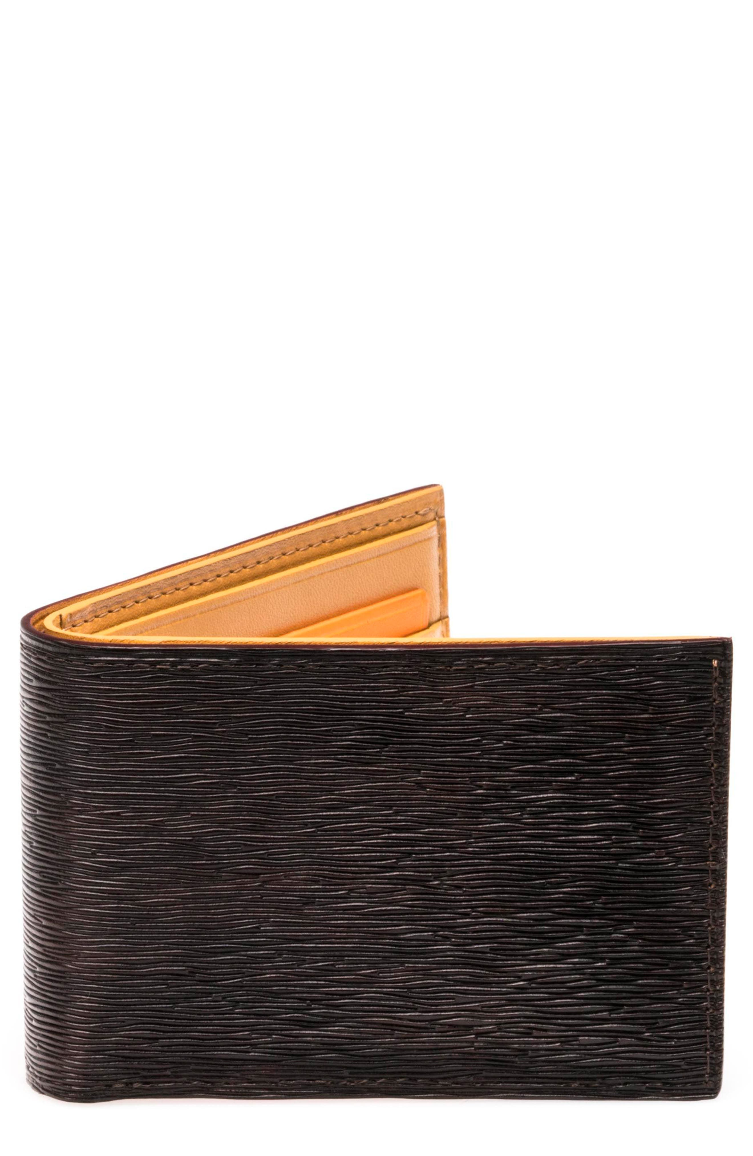 Slim Leather Bifold Wallet,                         Main,                         color, Brown