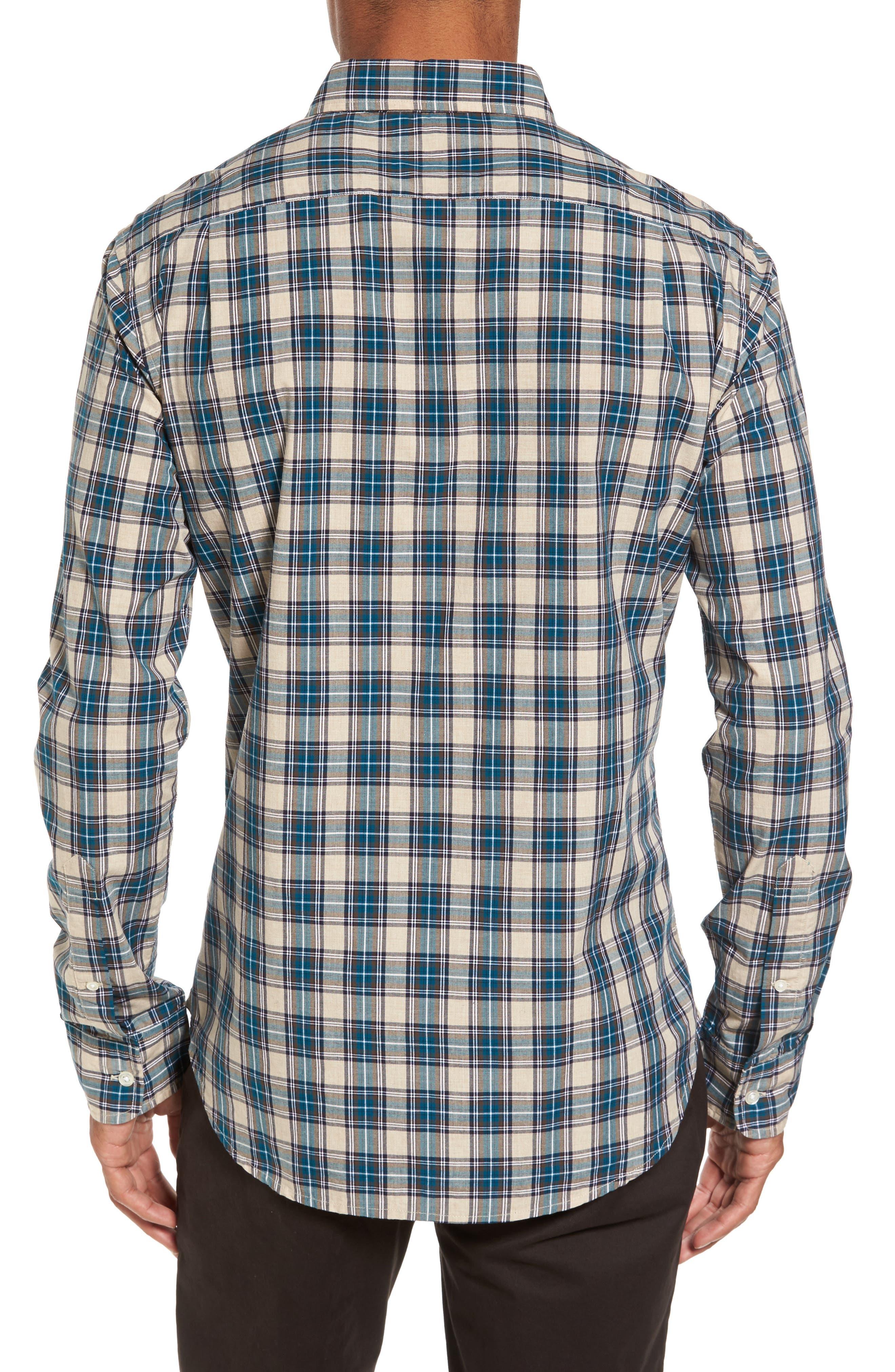 Washed Slim Fit Plaid Sport Shirt,                             Alternate thumbnail 2, color,                             Blue Plaid