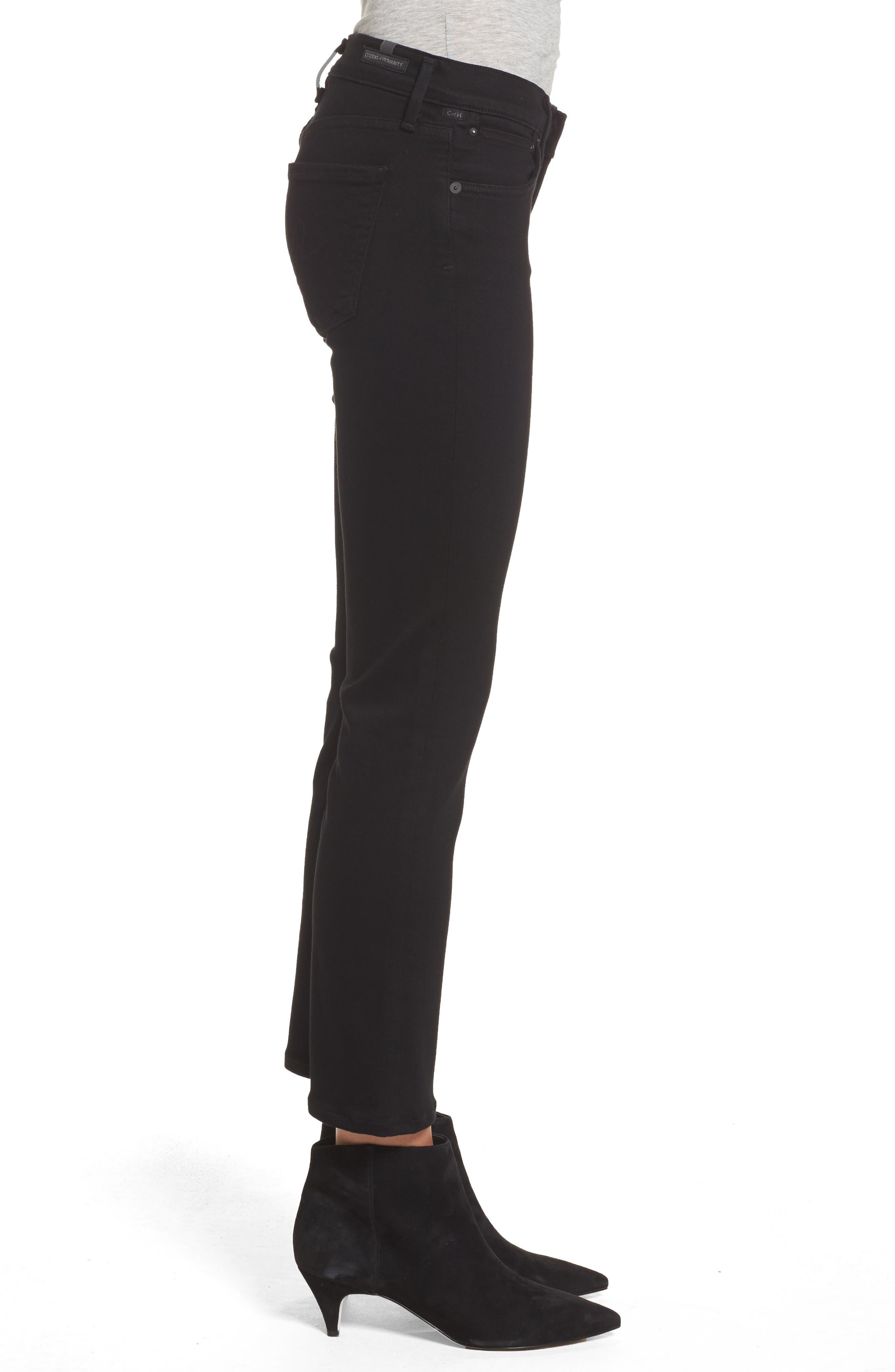 Emmanuelle Crop Slim Bootcut Jeans,                             Alternate thumbnail 3, color,                             Tuxedo