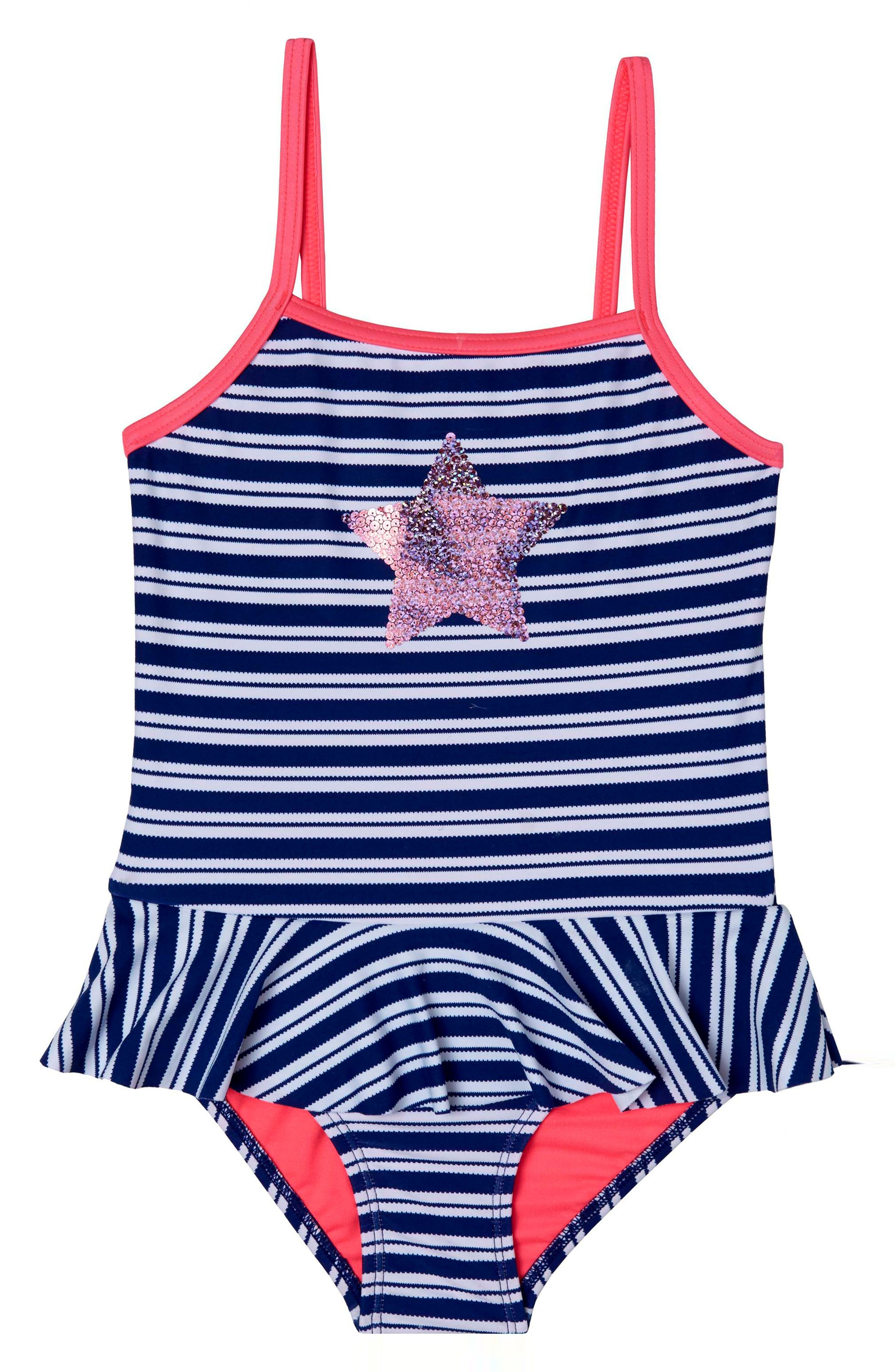 Retro Stripe One-Piece Swimsuit,                         Main,                         color, Navy