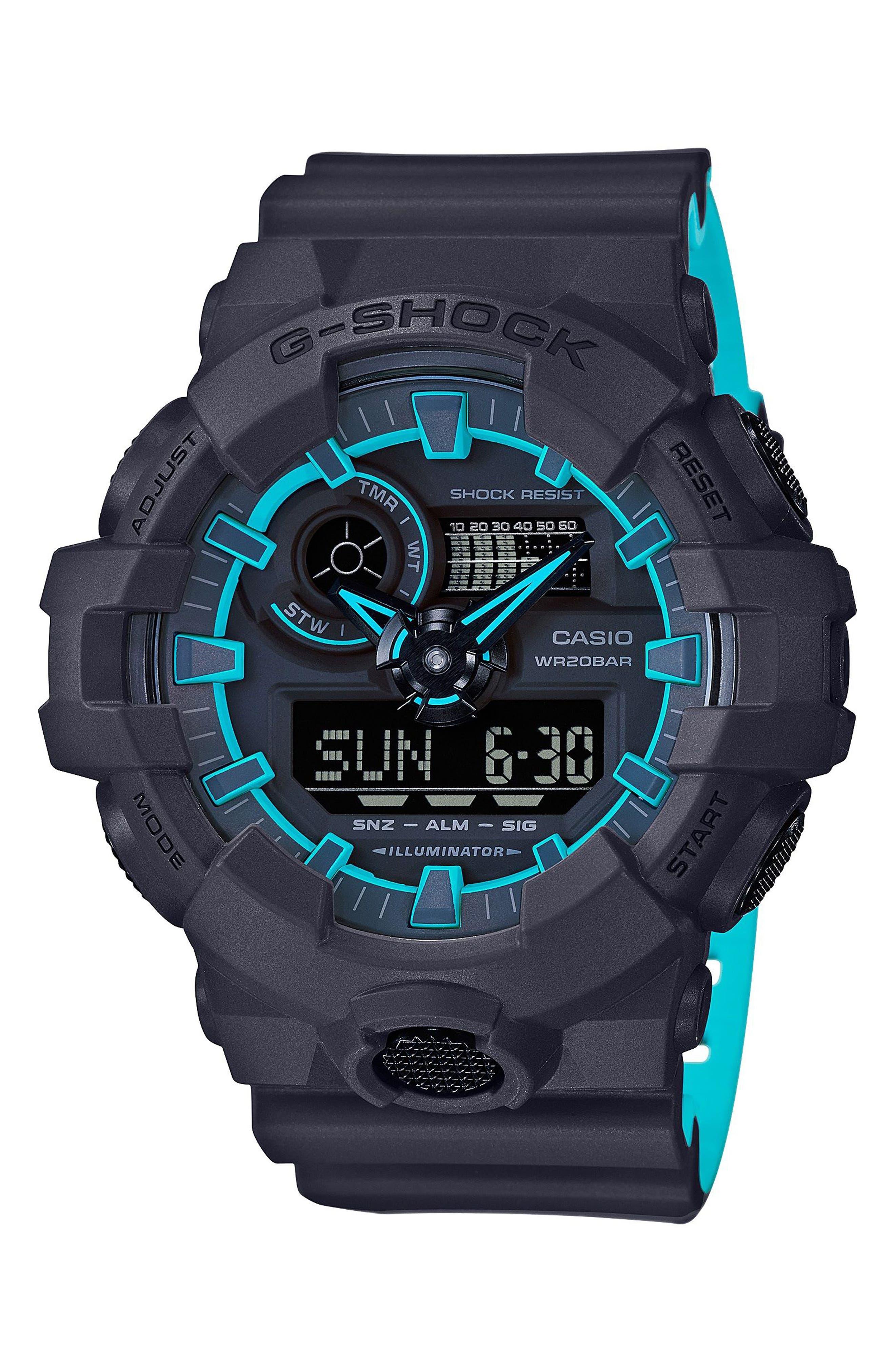 Military Ana-Digi Watch, 53mm,                         Main,                         color, Black/ Blue