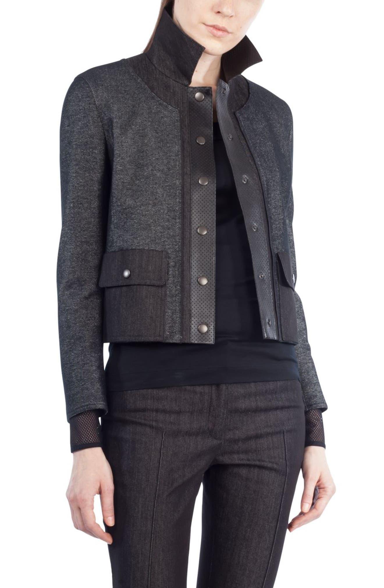 Leather Trim Crop Denim Jacket,                             Main thumbnail 1, color,                             Black Denim