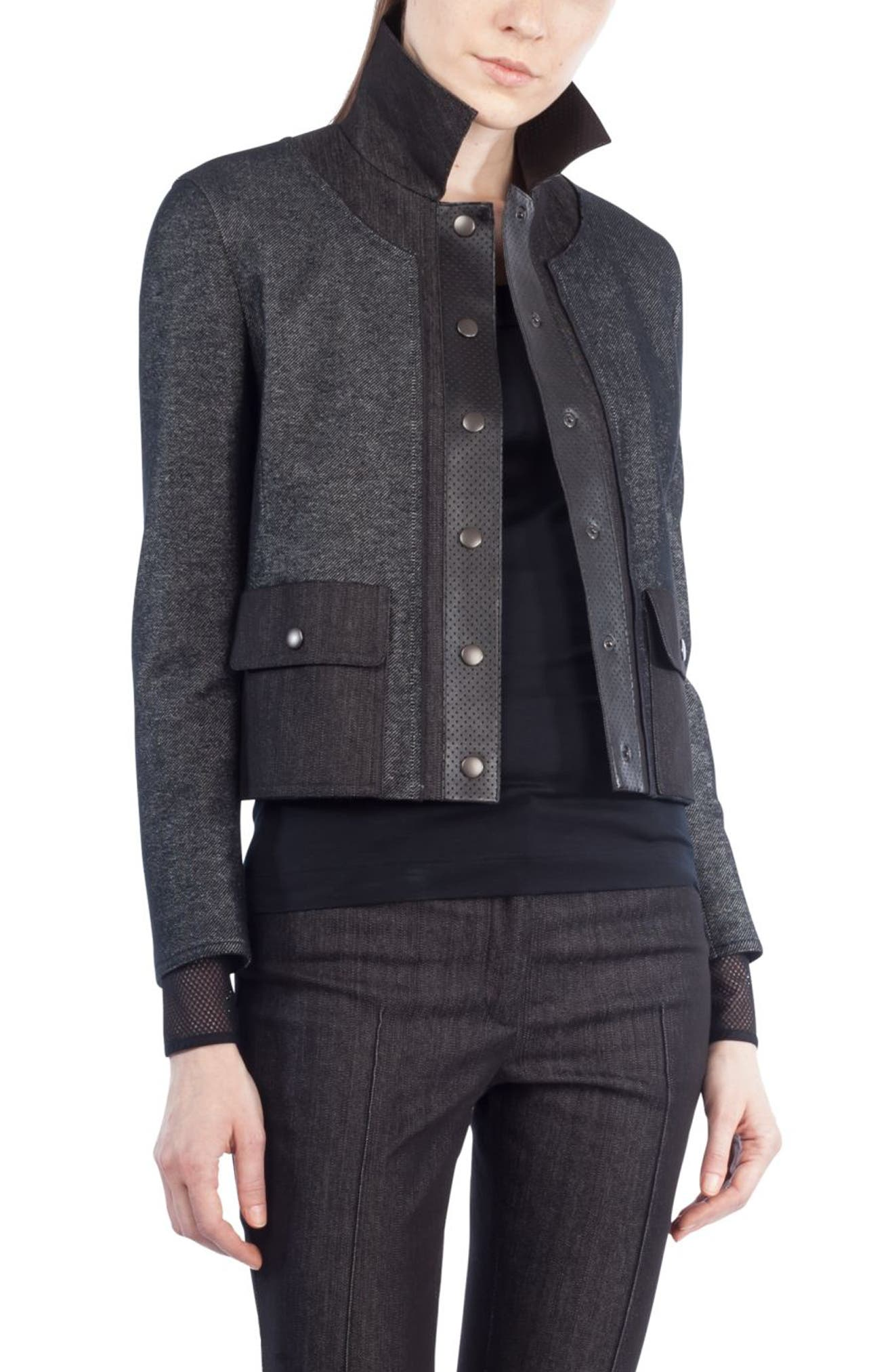 Leather Trim Crop Denim Jacket,                         Main,                         color, Black Denim