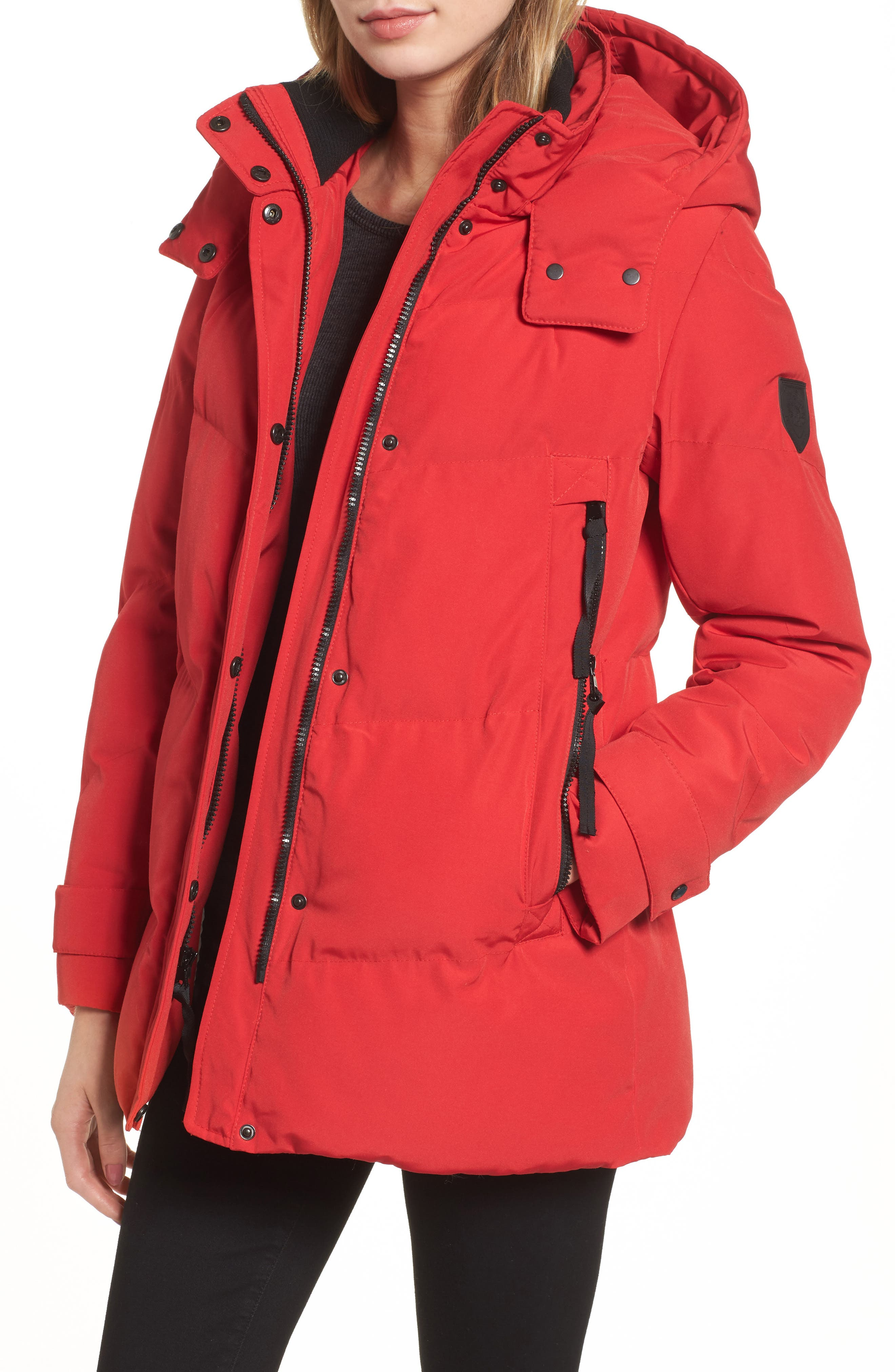 Quilted Puffer Jacket,                         Main,                         color, Red