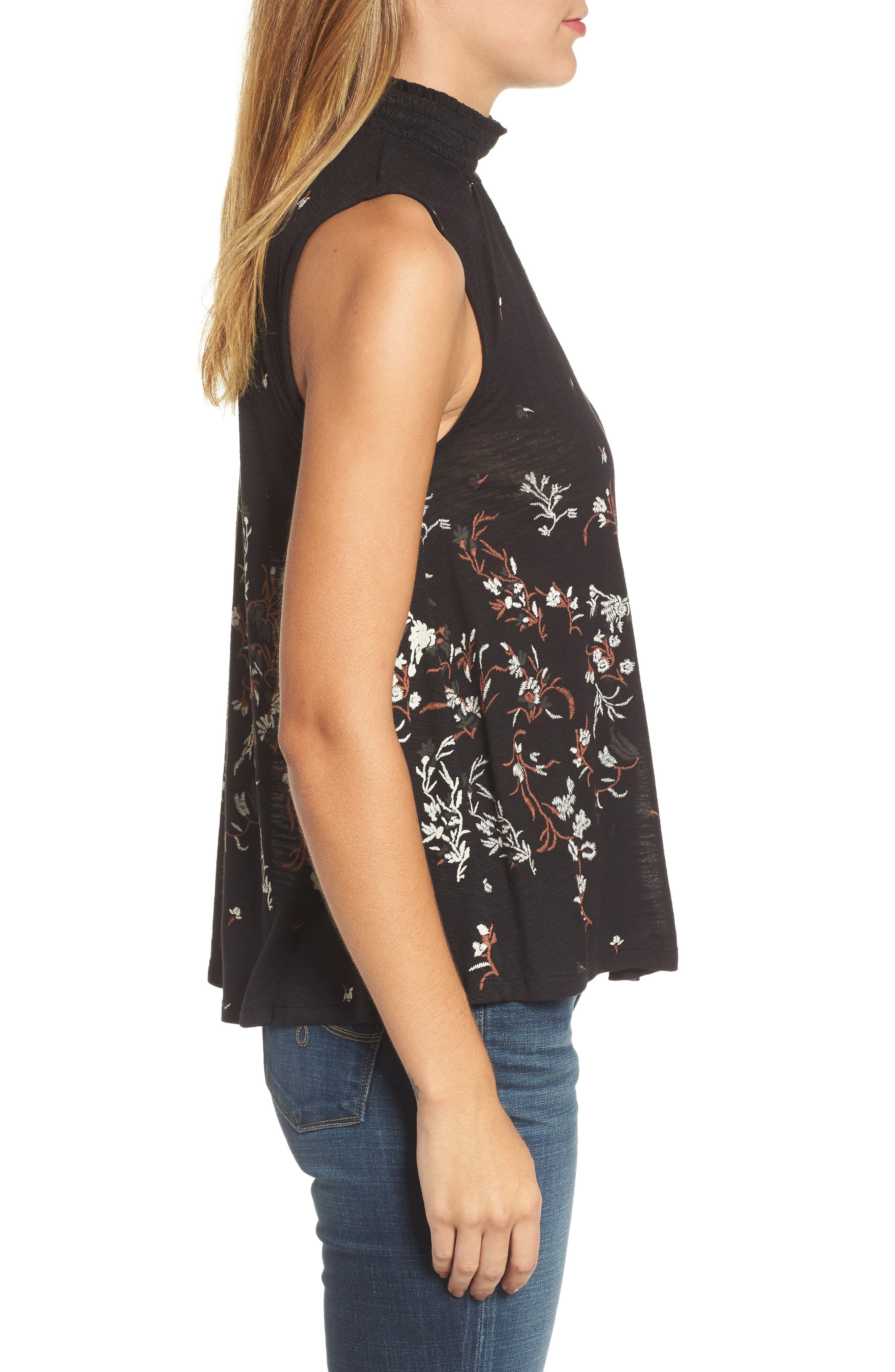 Mock Neck Floral Top,                             Alternate thumbnail 3, color,                             Black Multi