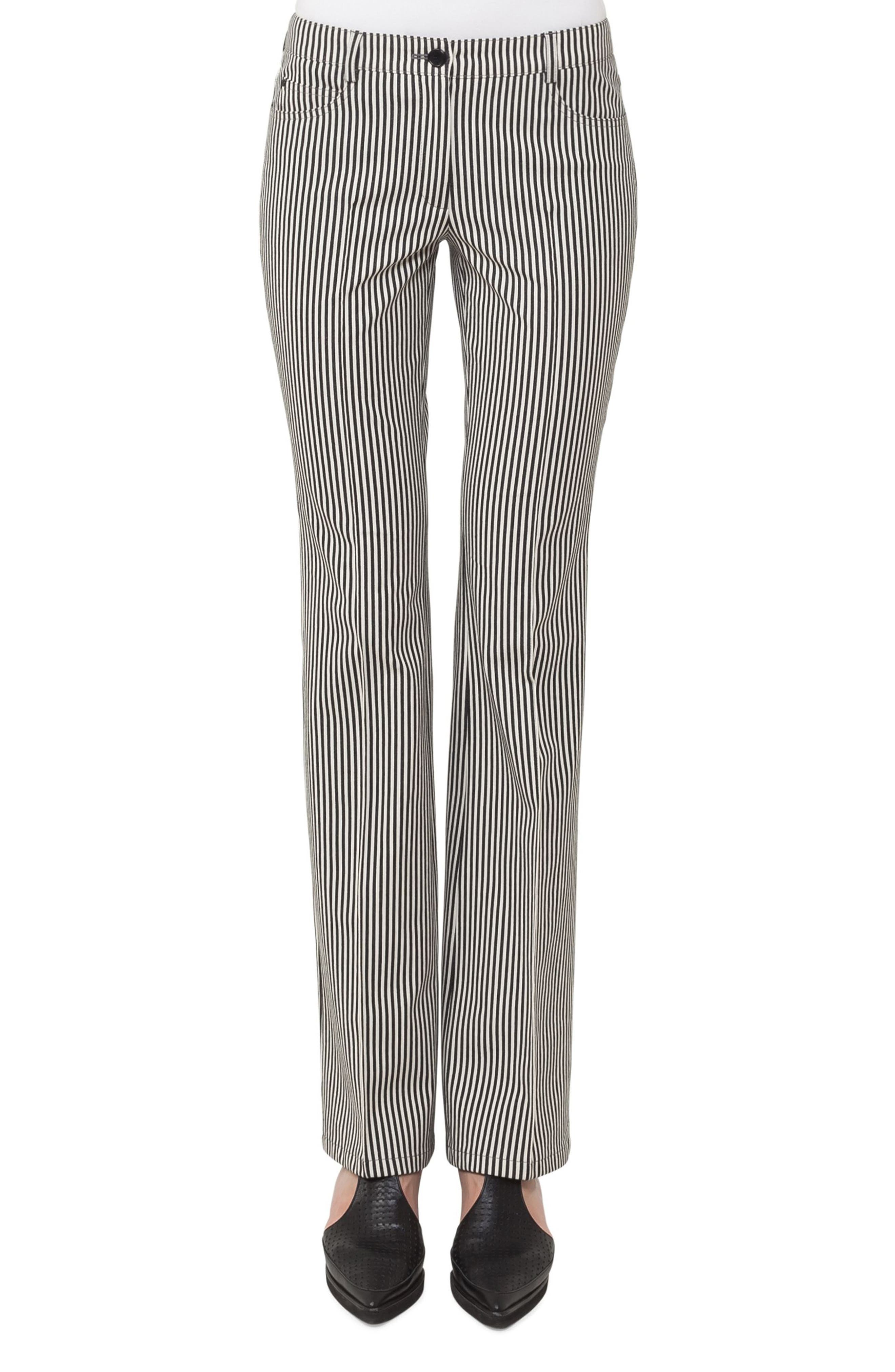 Faye Stripe Bootcut Pants,                         Main,                         color, Black/ Cream