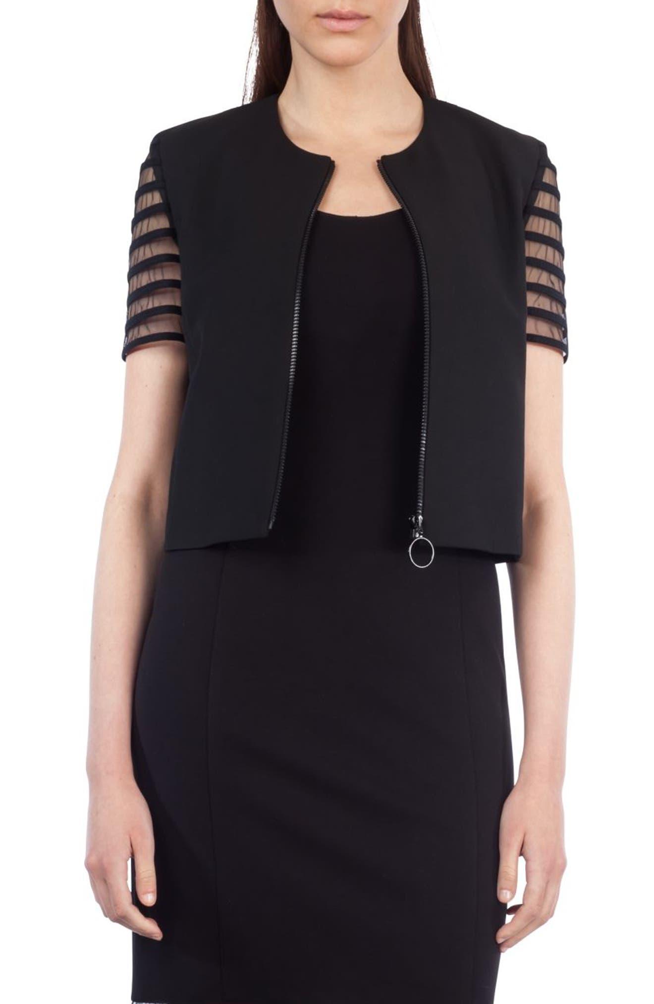 Tulle Sleeve Crop Jacket,                         Main,                         color, Black