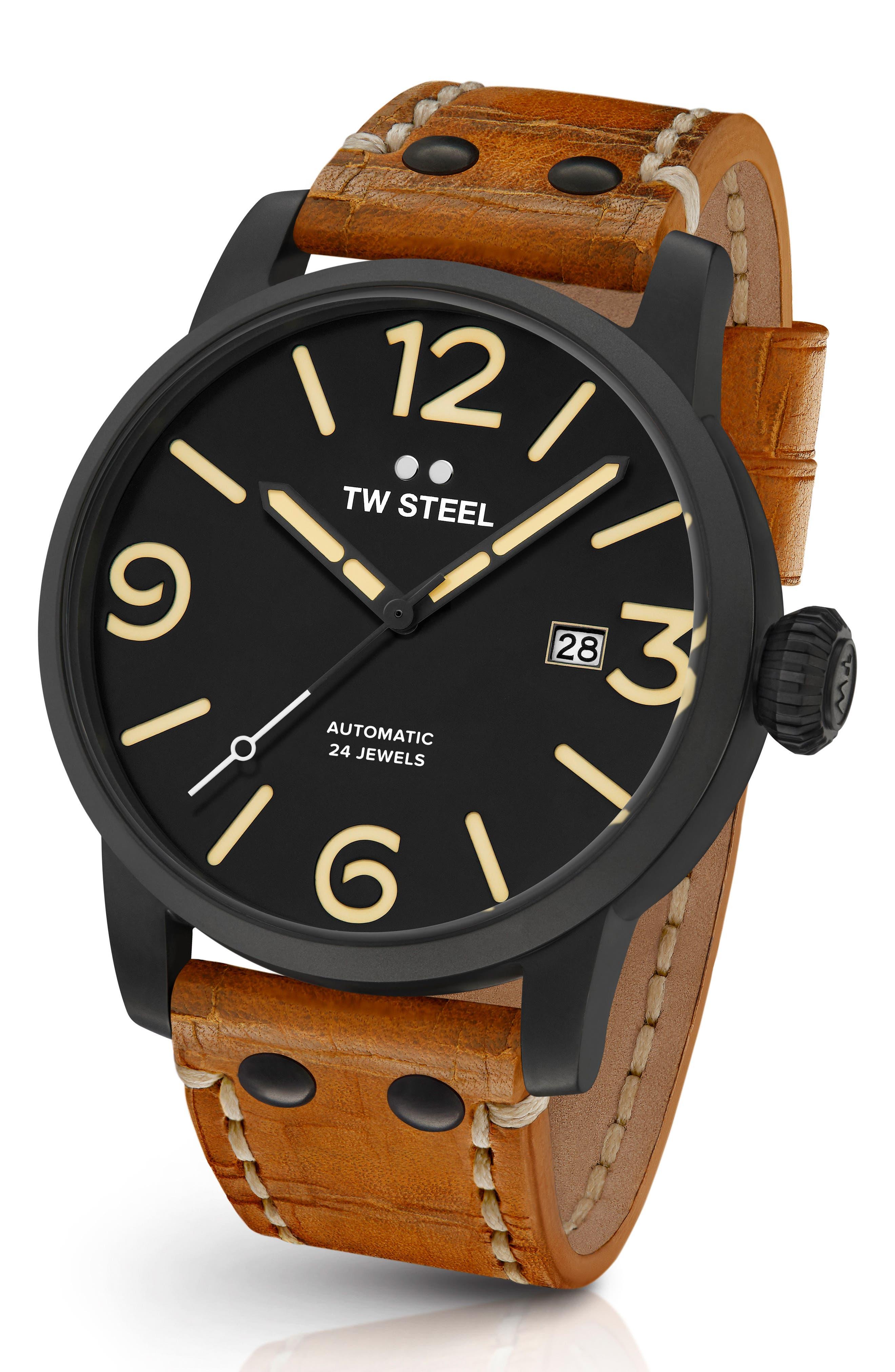 Maverick Automatic Leather Strap Watch, 48mm,                             Main thumbnail 1, color,                             Sienna/ Black