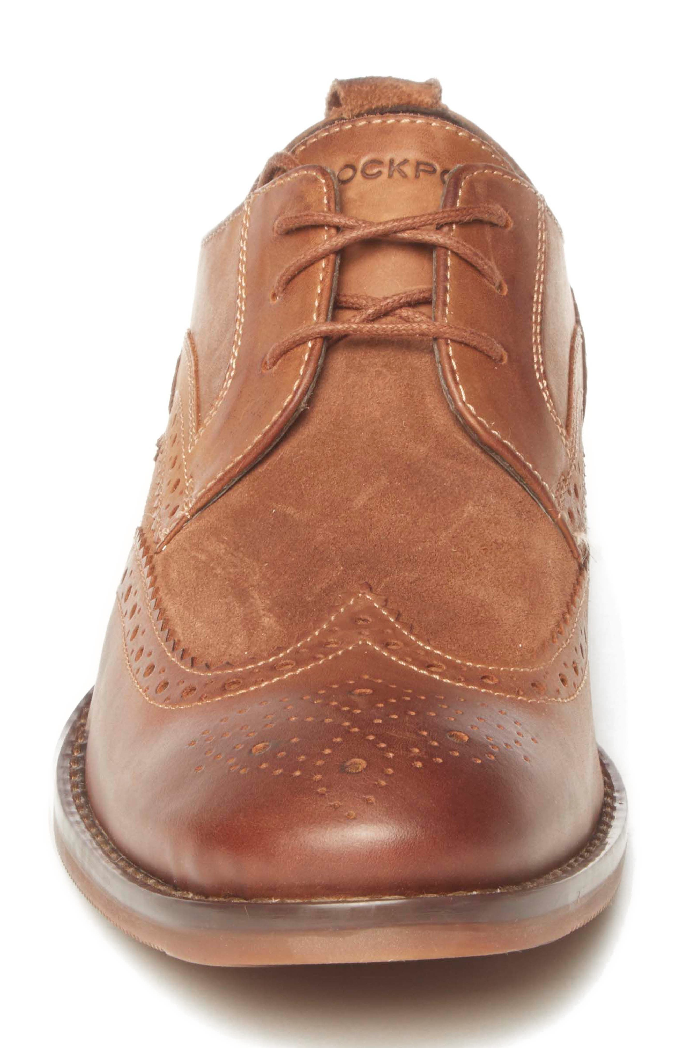 Wynstin Wingtip,                             Alternate thumbnail 4, color,                             Tobacco Leather/ Suede