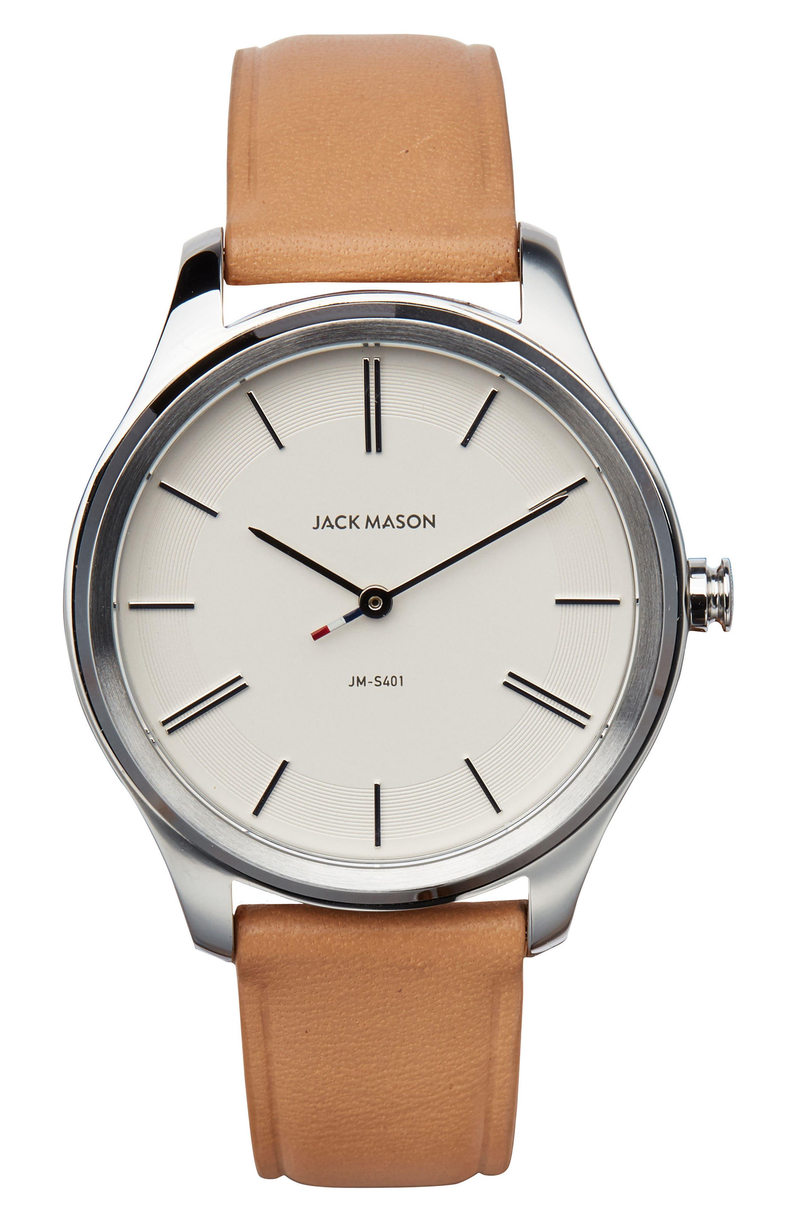 Main Image - Jack Mason Slim Leather Strap Watch, 38mm