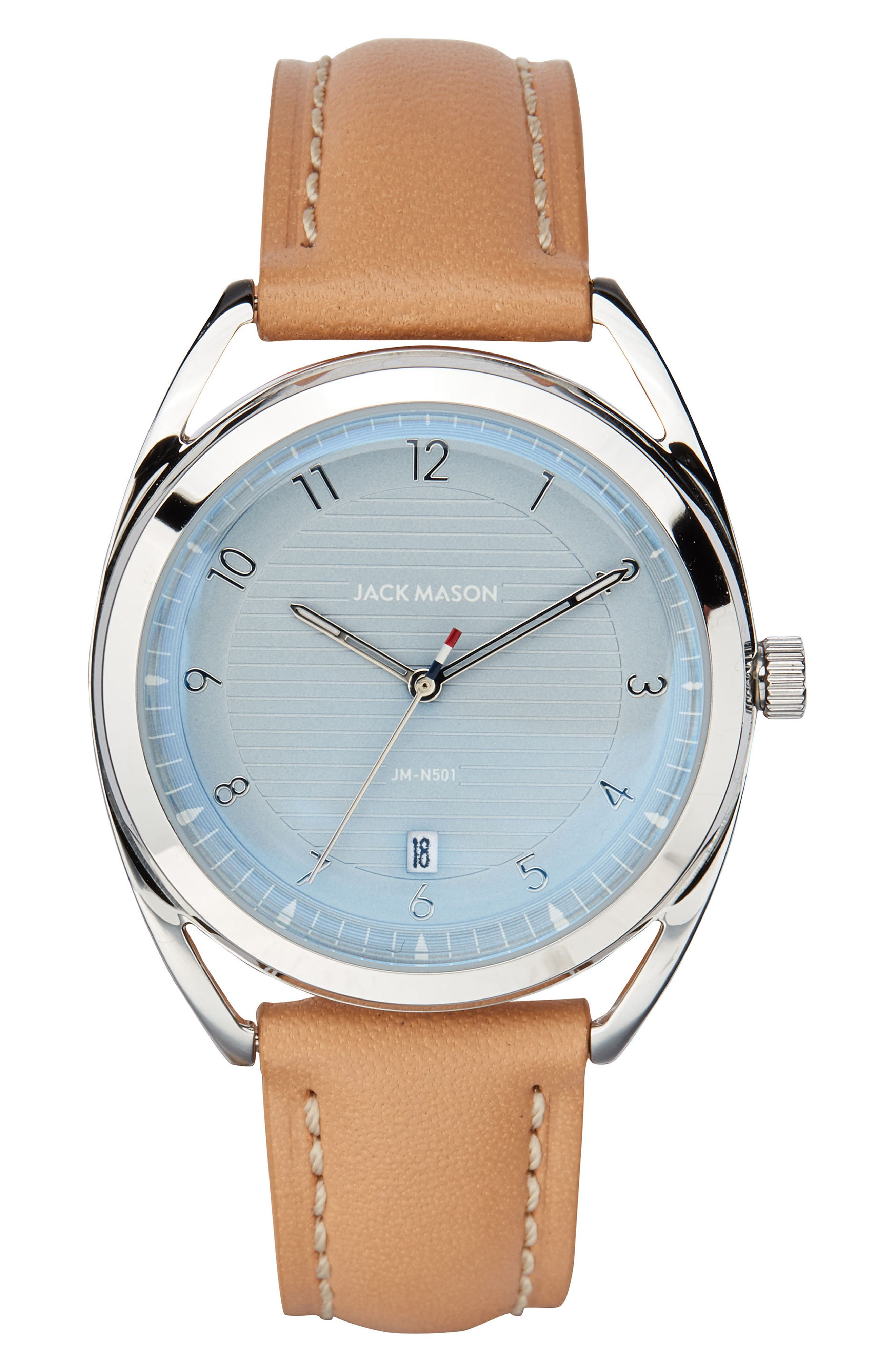 Deck Leather Strap Watch, 36mm,                         Main,                         color, Camel/ Blue/ Silver