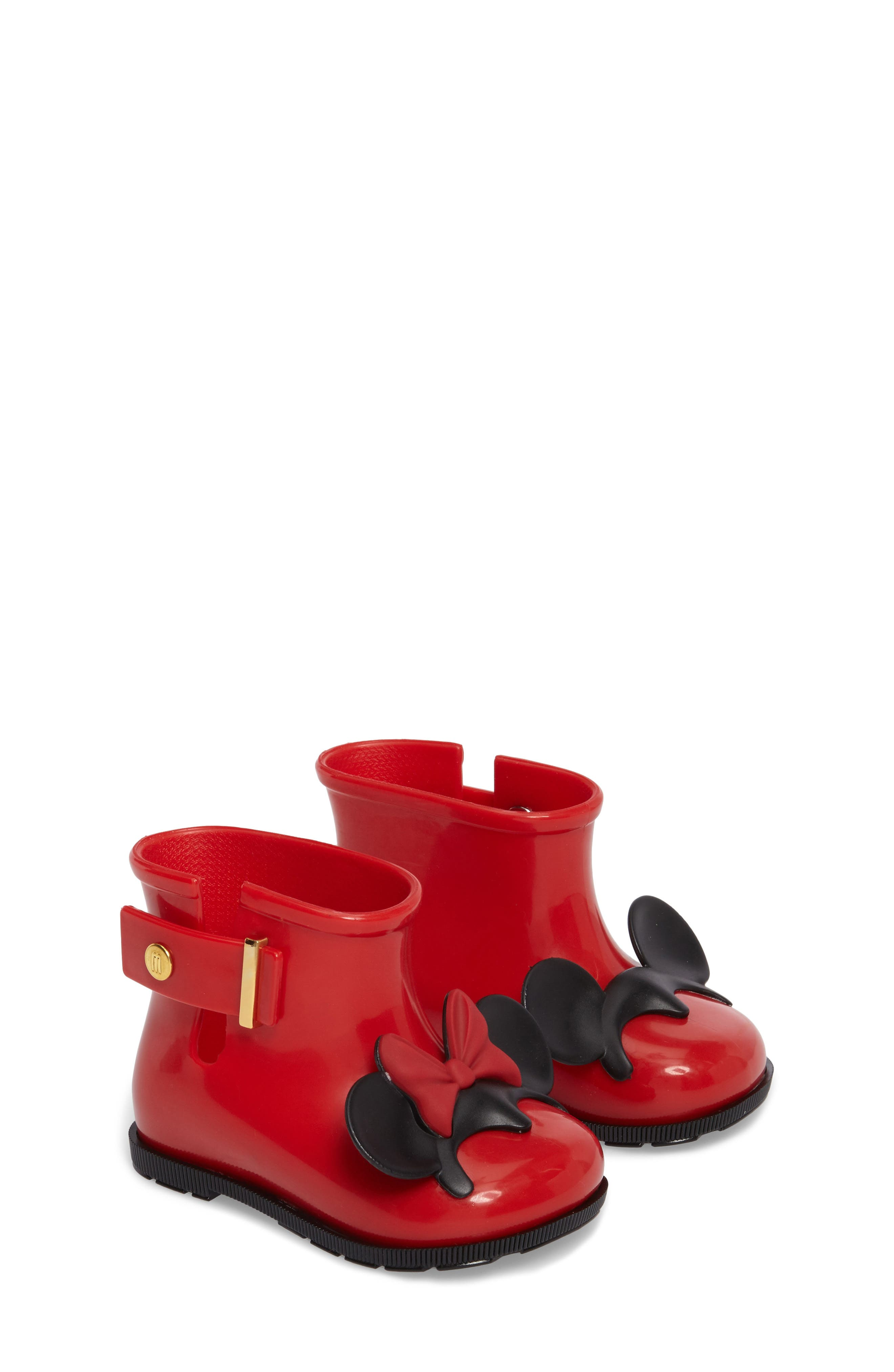 Mini Melissa Sugar Rain Disney Twins Waterproof Bootie,                             Main thumbnail 1, color,                             Red