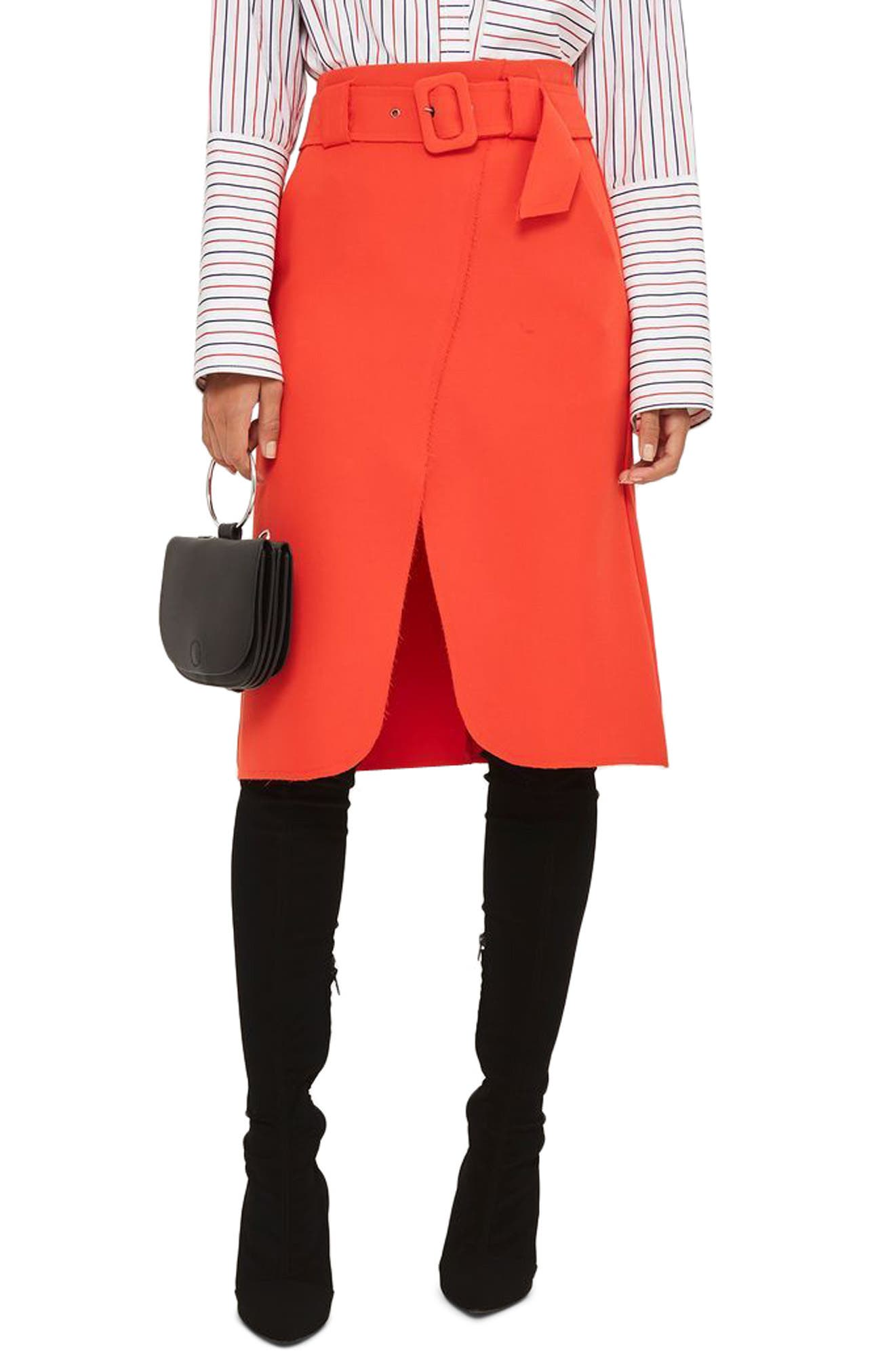 Belted Curve Faux Wrap Skirt,                         Main,                         color, Red