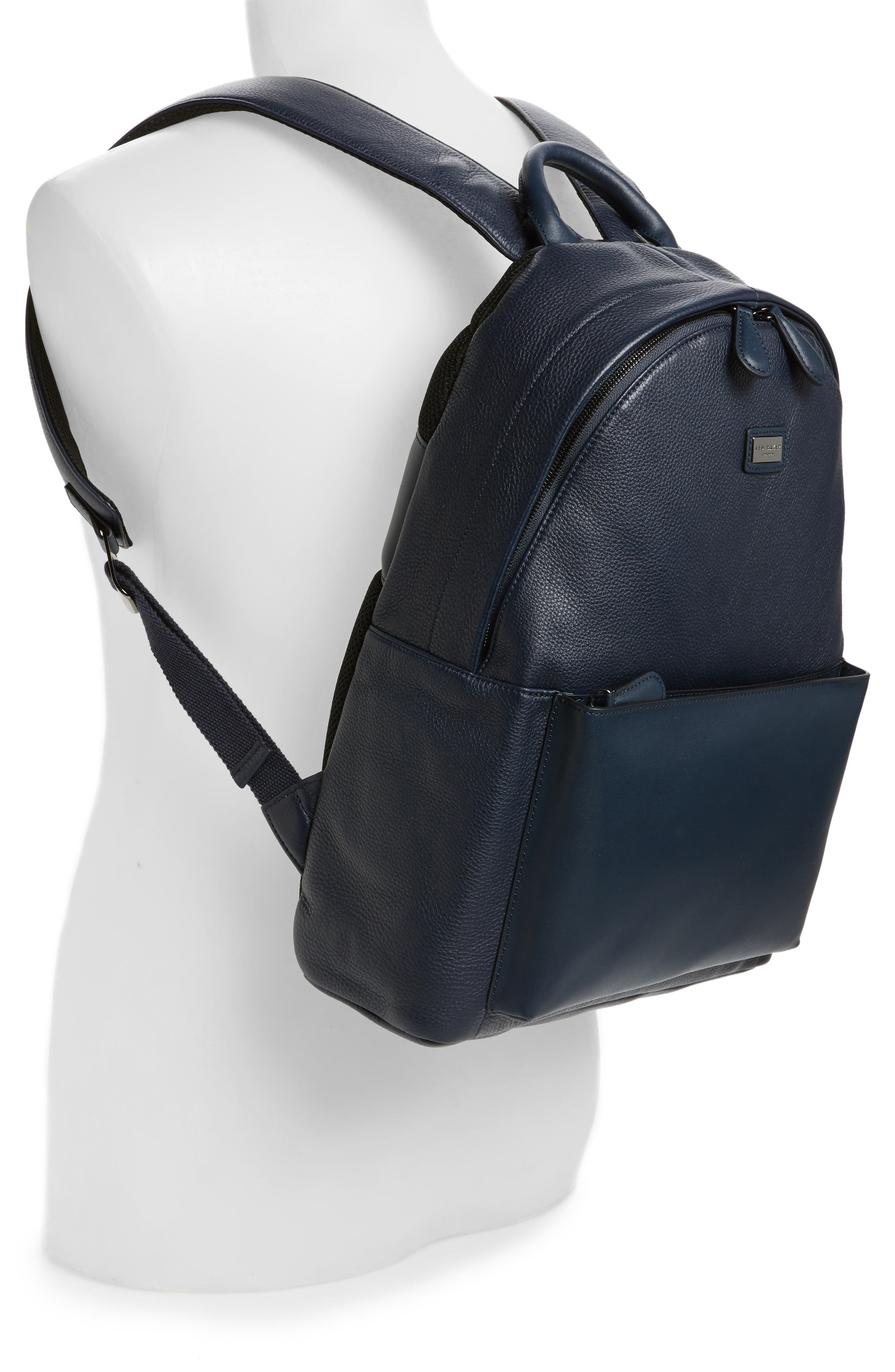 Leather Backpack,                             Alternate thumbnail 2, color,                             Navy