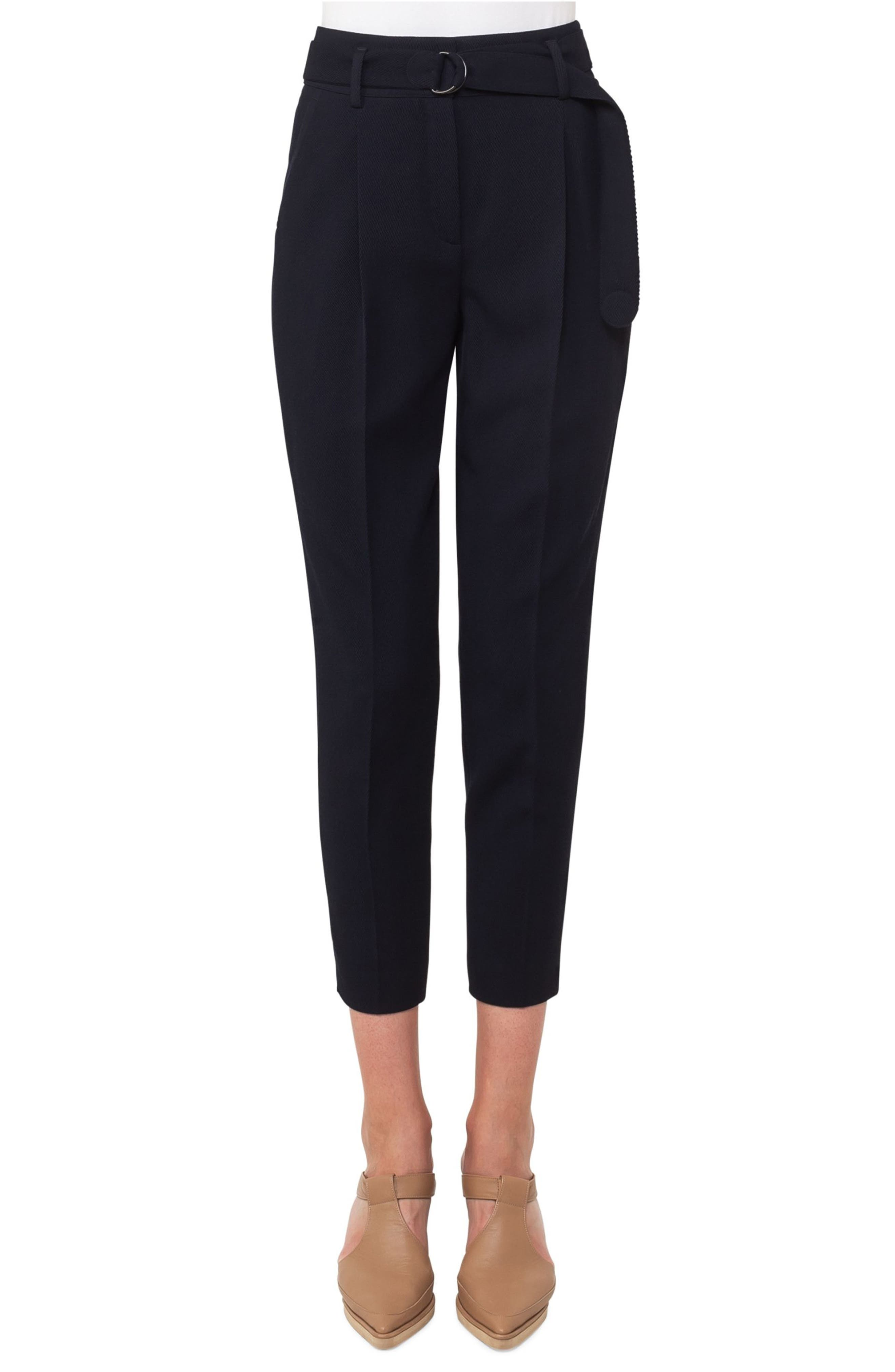 Fred Wool Gabardine Crop Pants,                         Main,                         color, Navy