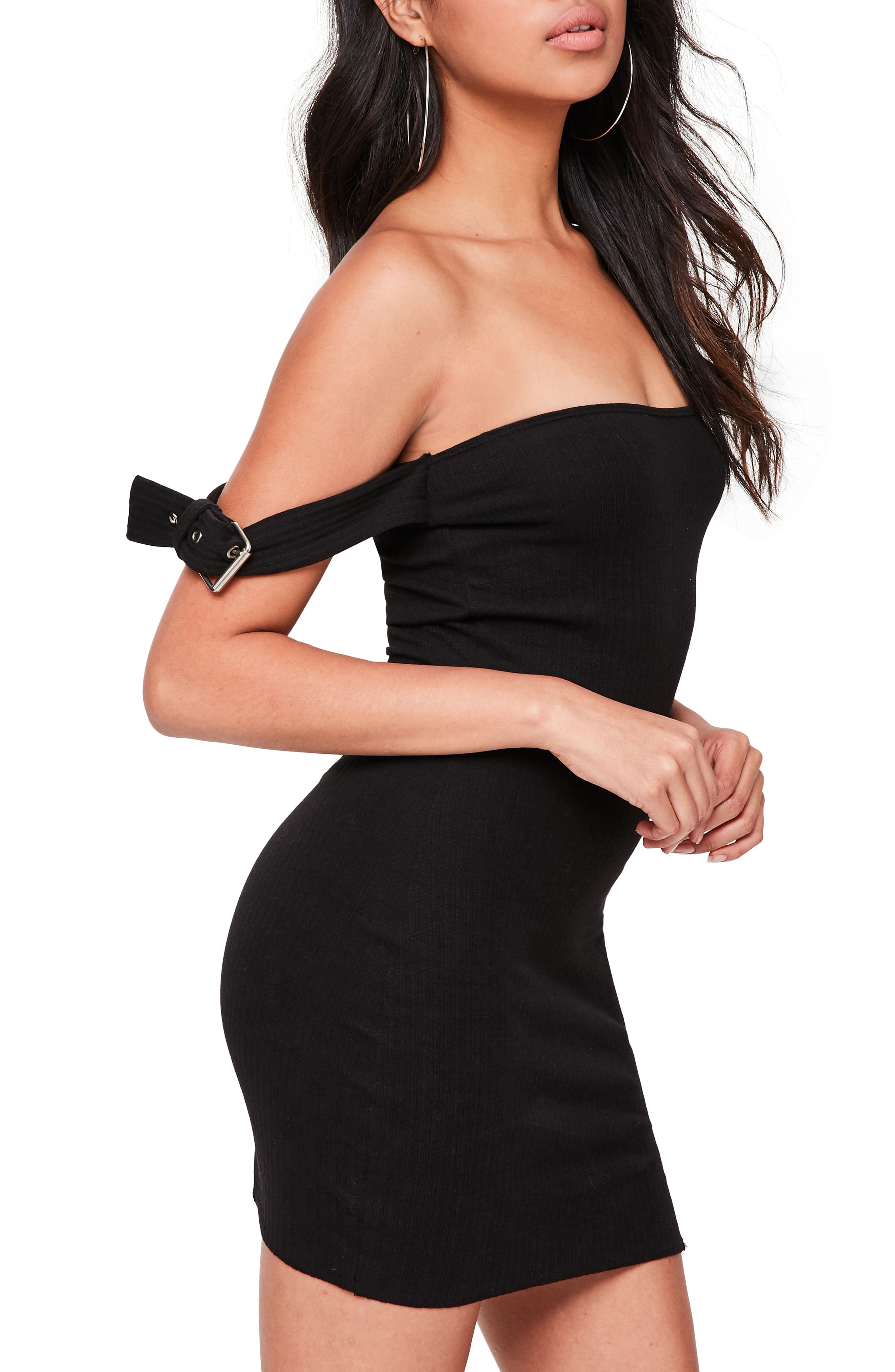 Alternate Image 3  - Missguided Bardot Buckled Body-Con Dress