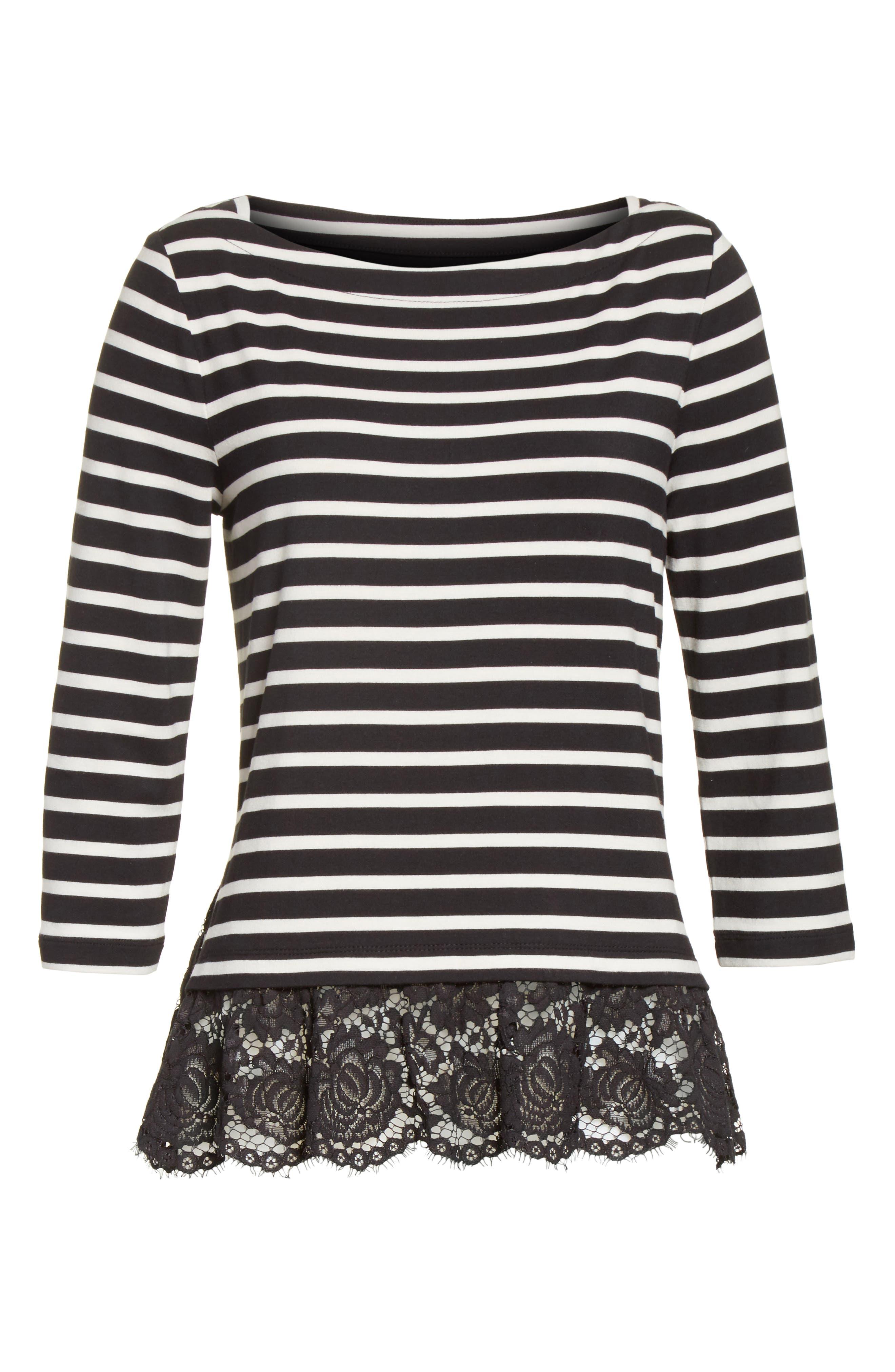 kate spade lace flounce stripe top,                             Alternate thumbnail 6, color,                             Black/ Off-White