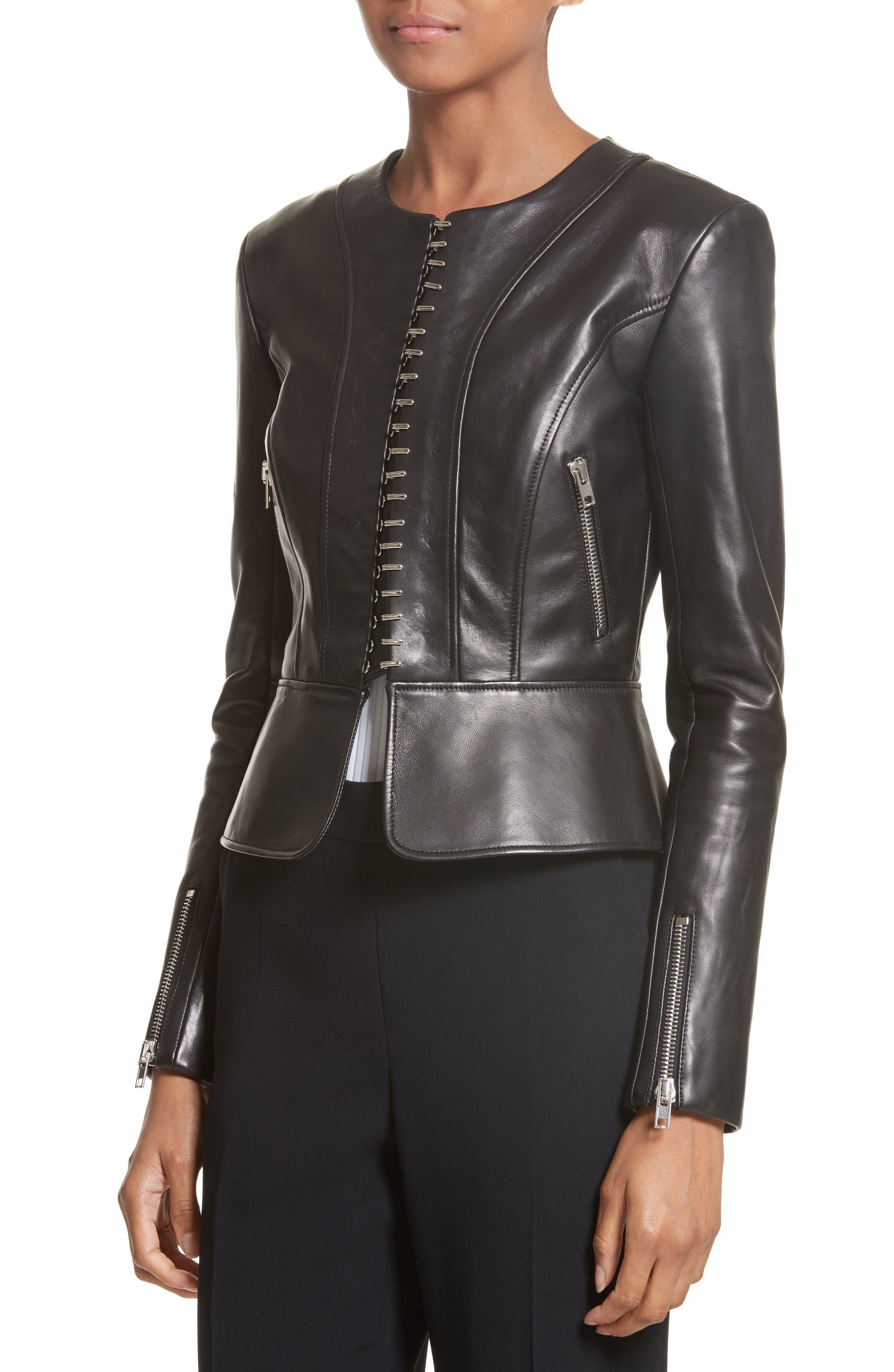 Hook Detail Lambskin Leather Jacket,                             Alternate thumbnail 4, color,                             Black