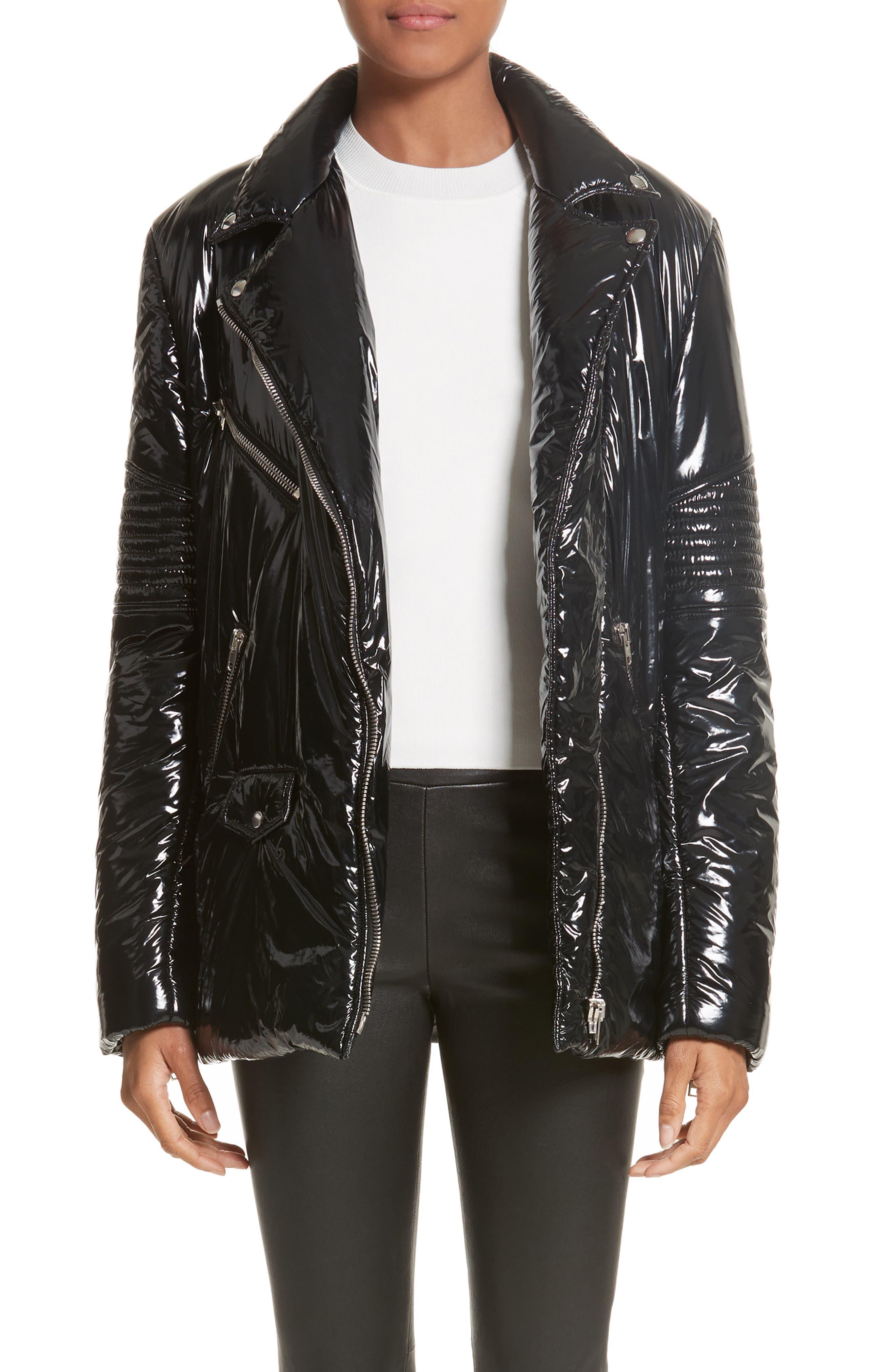 Moto Puffer Jacket,                         Main,                         color, Black/ Black