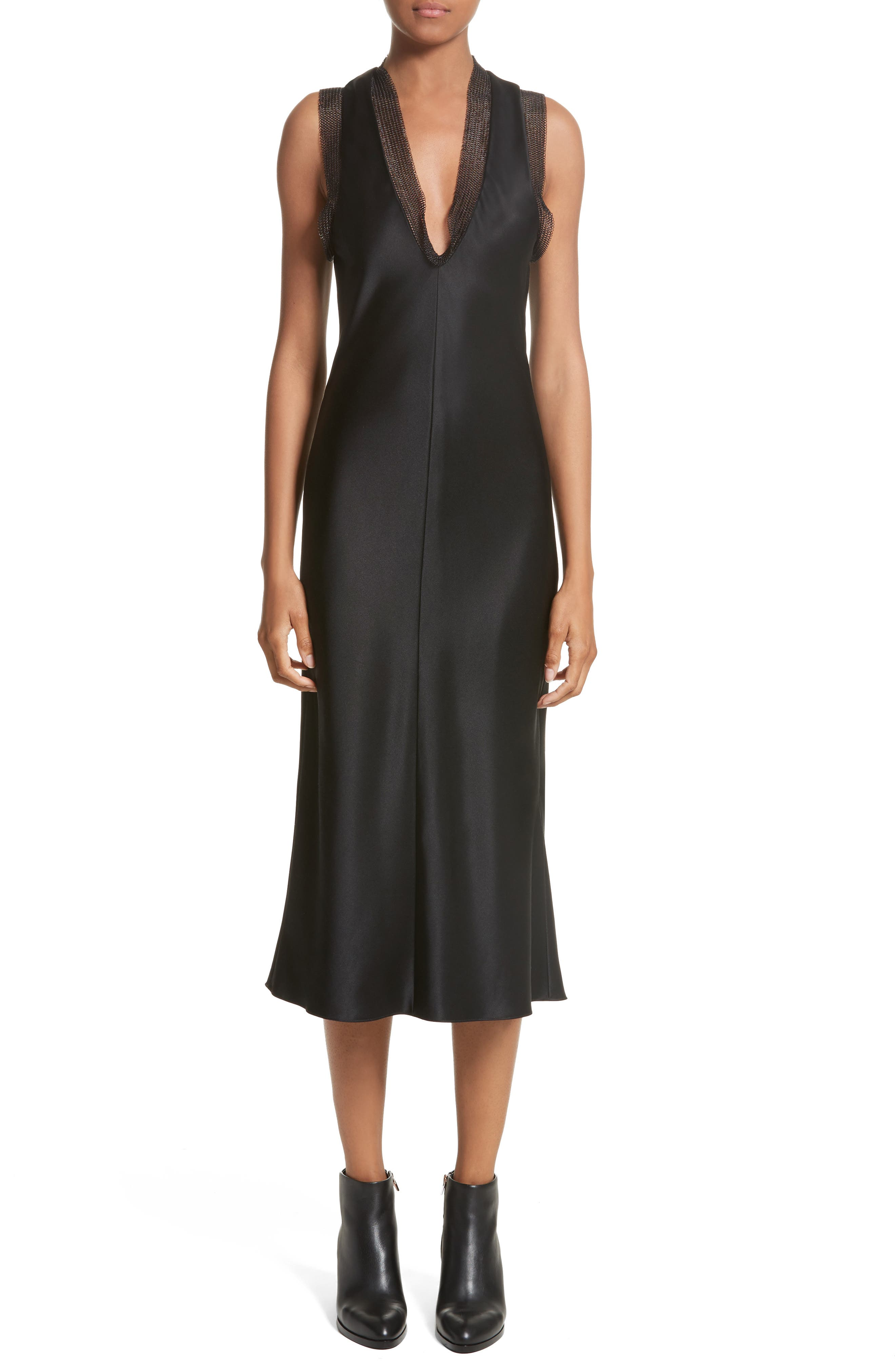 Main Image - Alexander Wang Chain Mail Trim Silk Slipdress