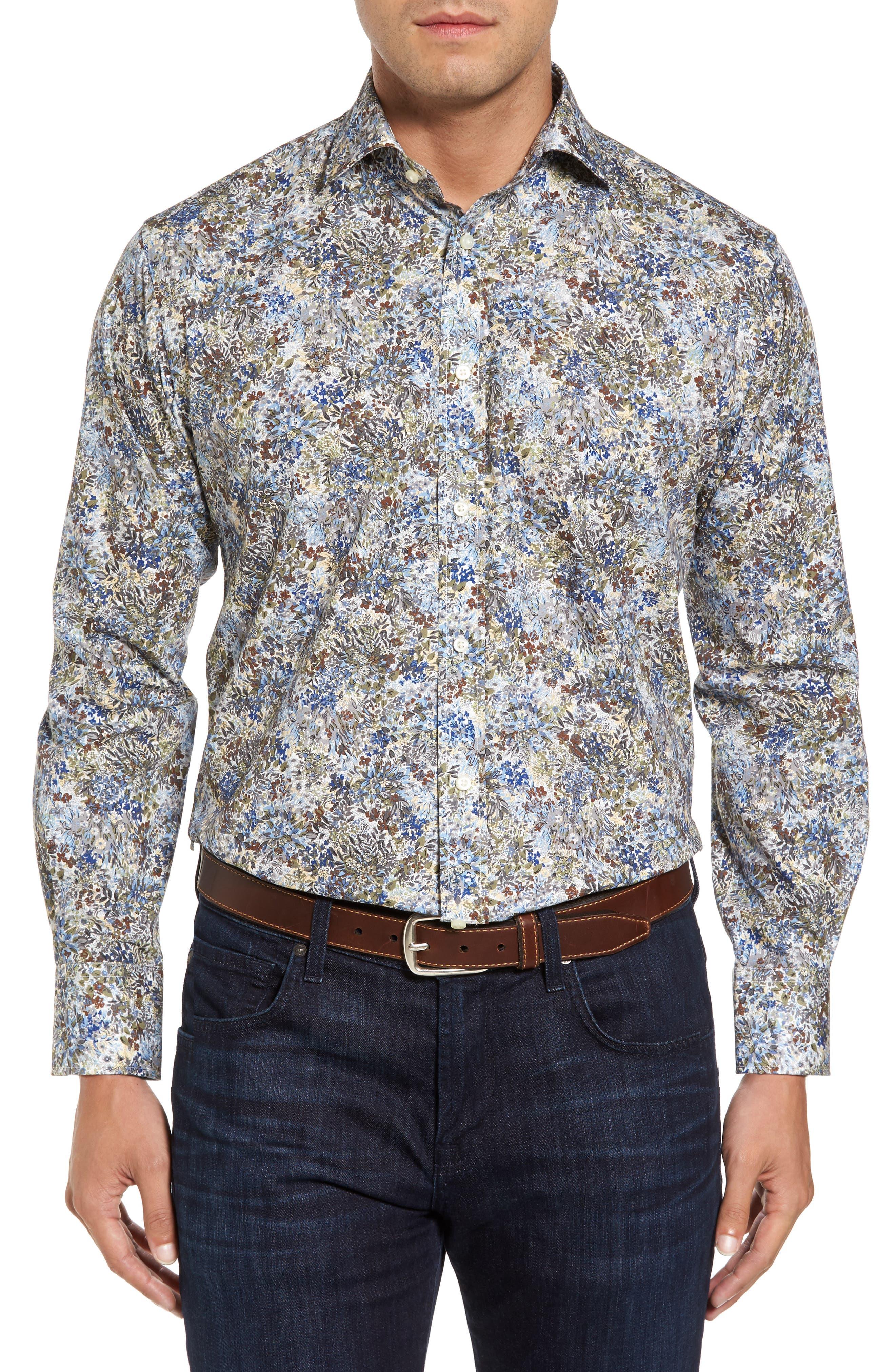Thomas Dean Regular Fit Print Sport Shirt