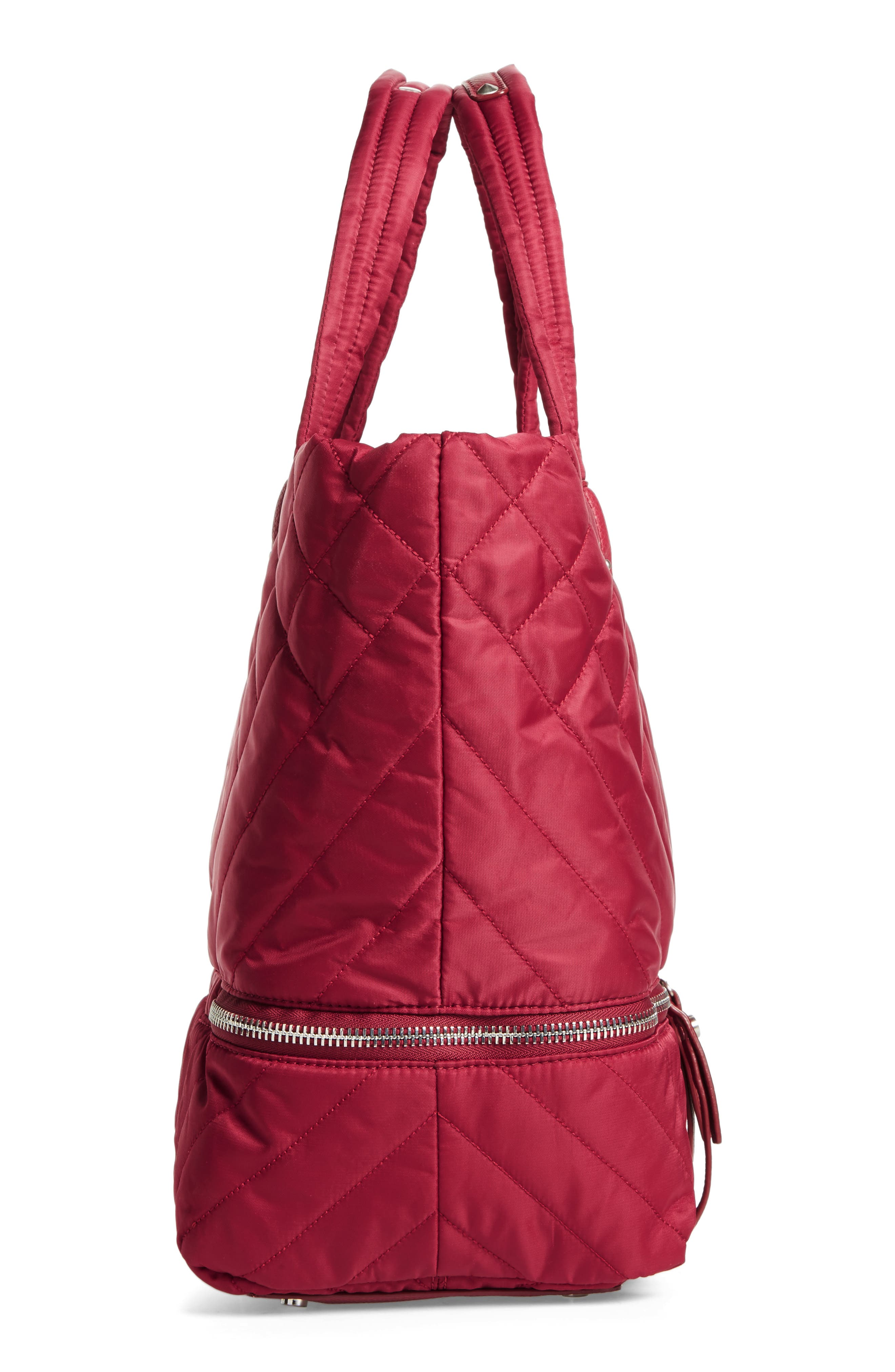 Arianna Quilted Nylon Tote,                             Alternate thumbnail 4, color,                             Cranberry