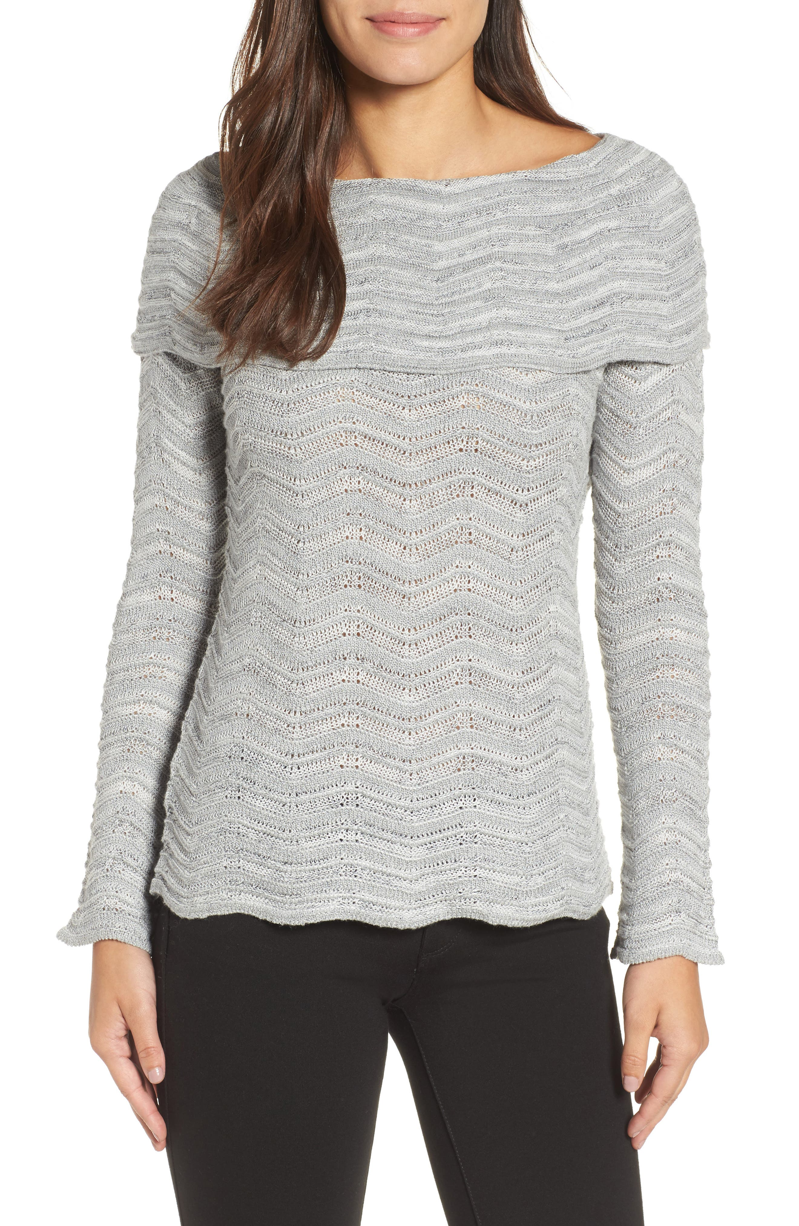 Over the Shoulder Top,                         Main,                         color, Smoke